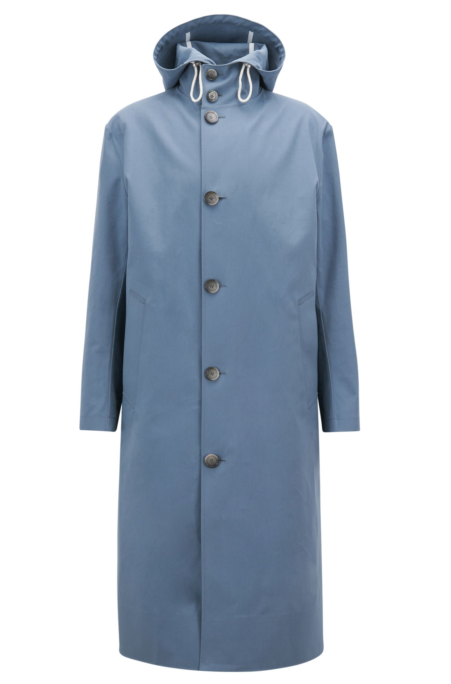 Long-length raincoat in water-repellent cotton