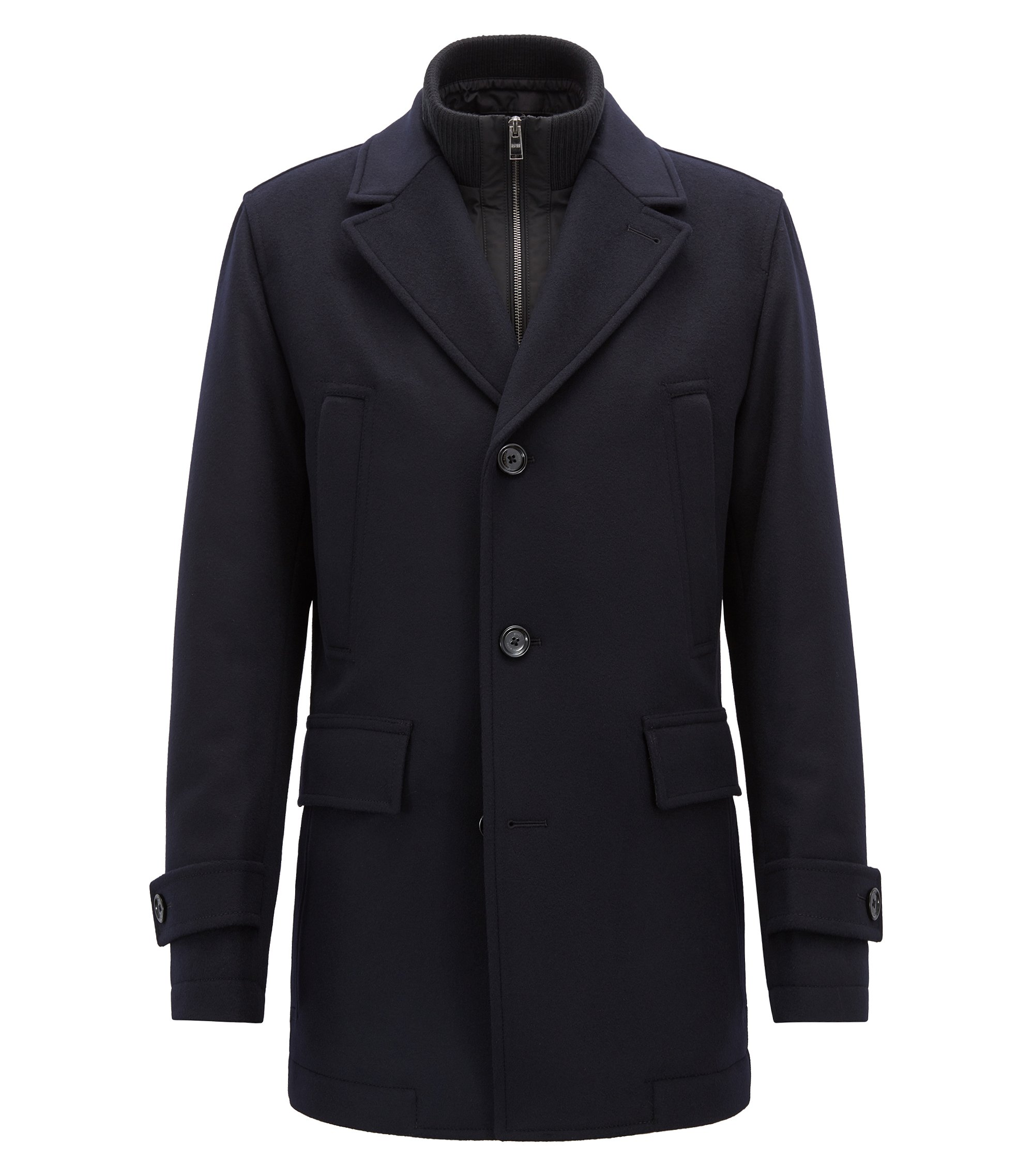 Car coat in wool and cashmere with detachable bib, Dark Blue
