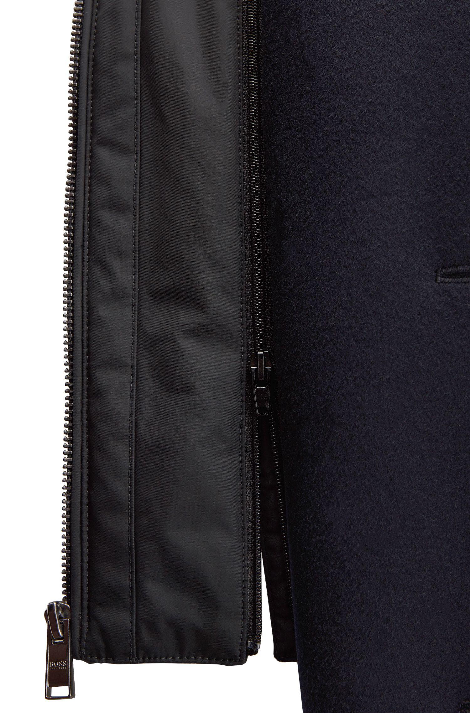 Regular-Fit Mantel aus Schurwoll-Mix mit Kaschmir und herausnehmbarem Brusteinsatz, Dunkelblau