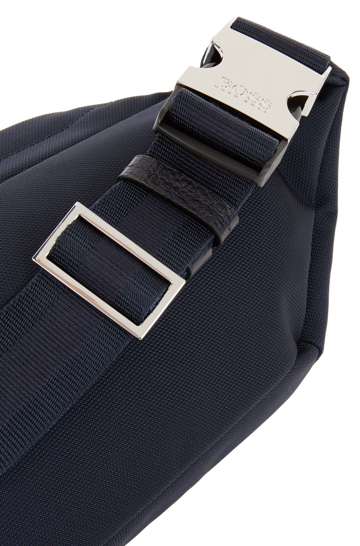 Nylon belt bag with calf-leather trims