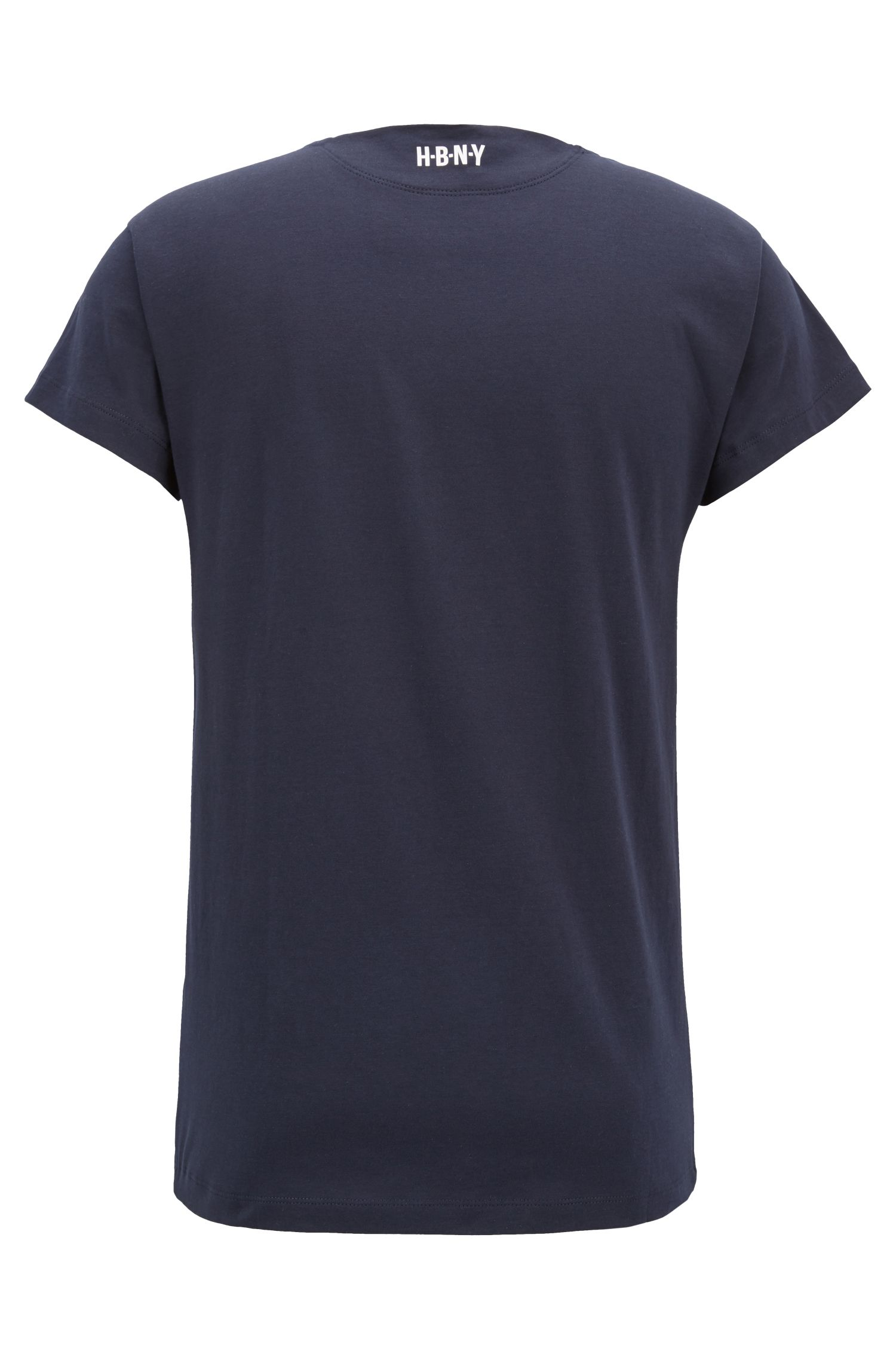 T-shirt imprimé en jersey simple de coton lavé