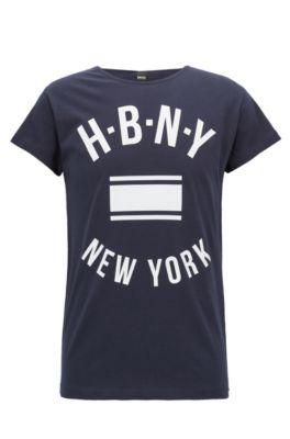 T-Shirt aus gewaschenem Single Jersey mit Aufdruck, Dunkelblau
