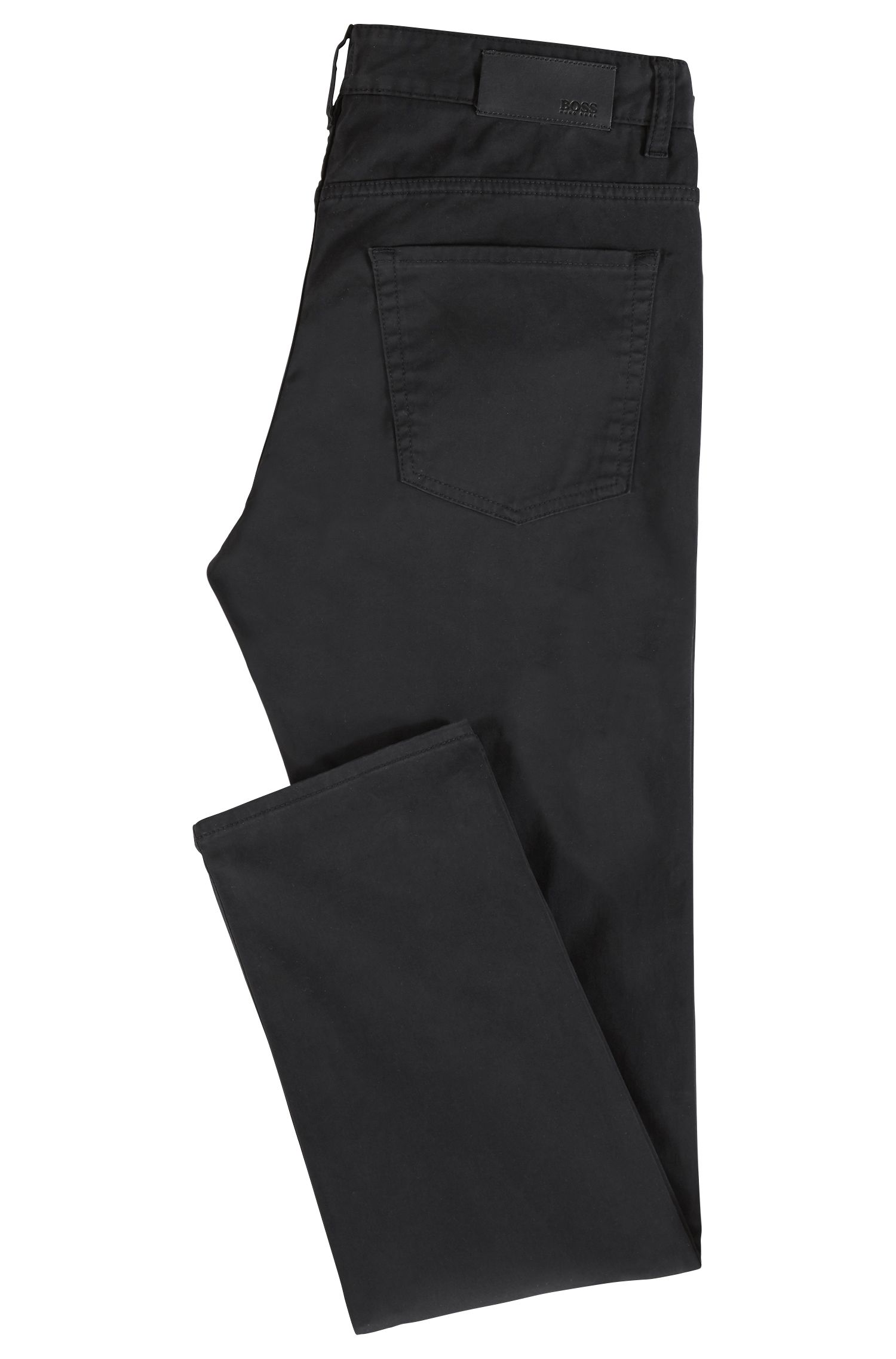 Slim-fit jeans in diamond-brushed satin denim, Black