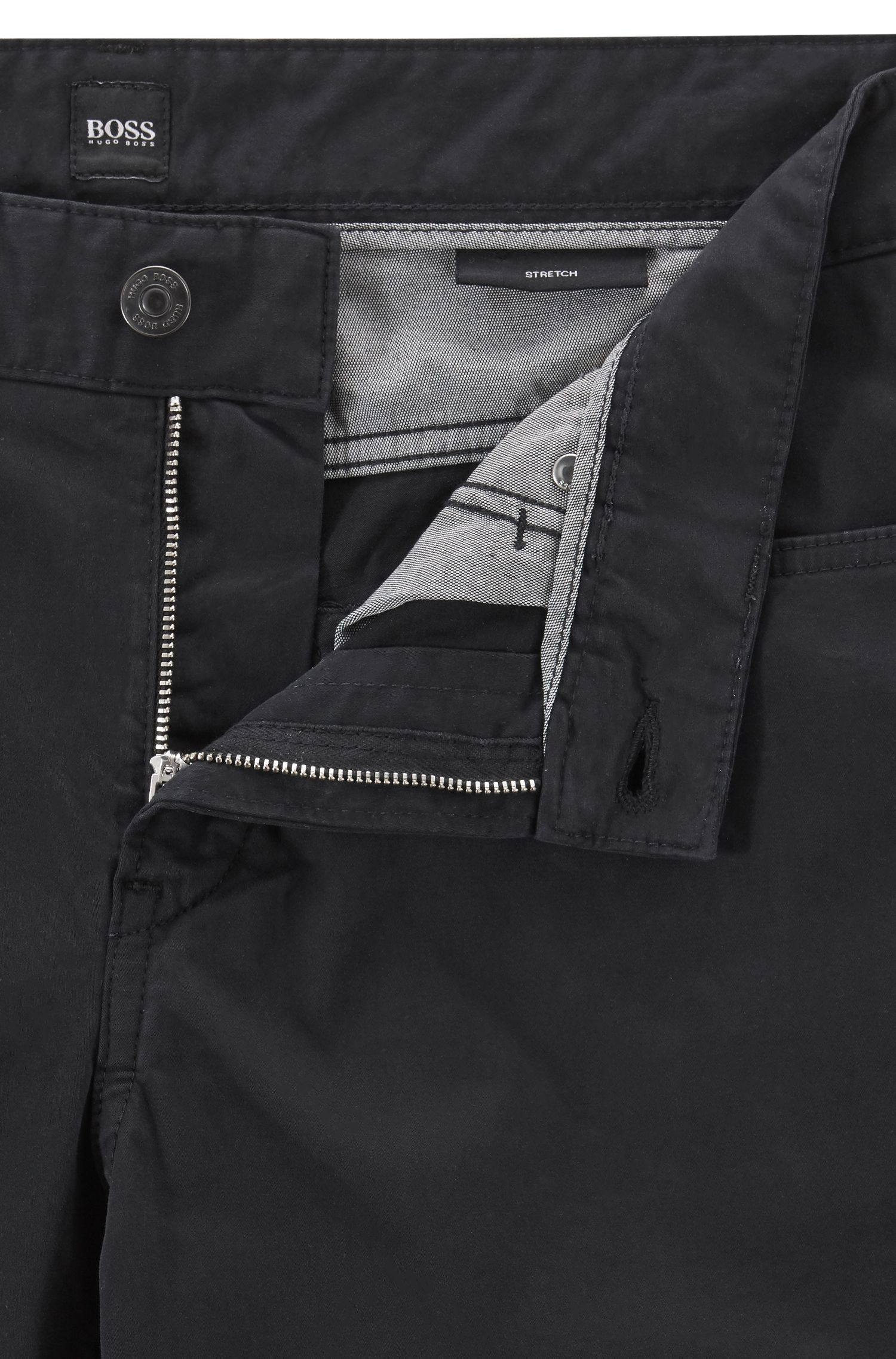 Slim-fit jeans van gesatineerd denim, afgewerkt met diamantborstel, Zwart