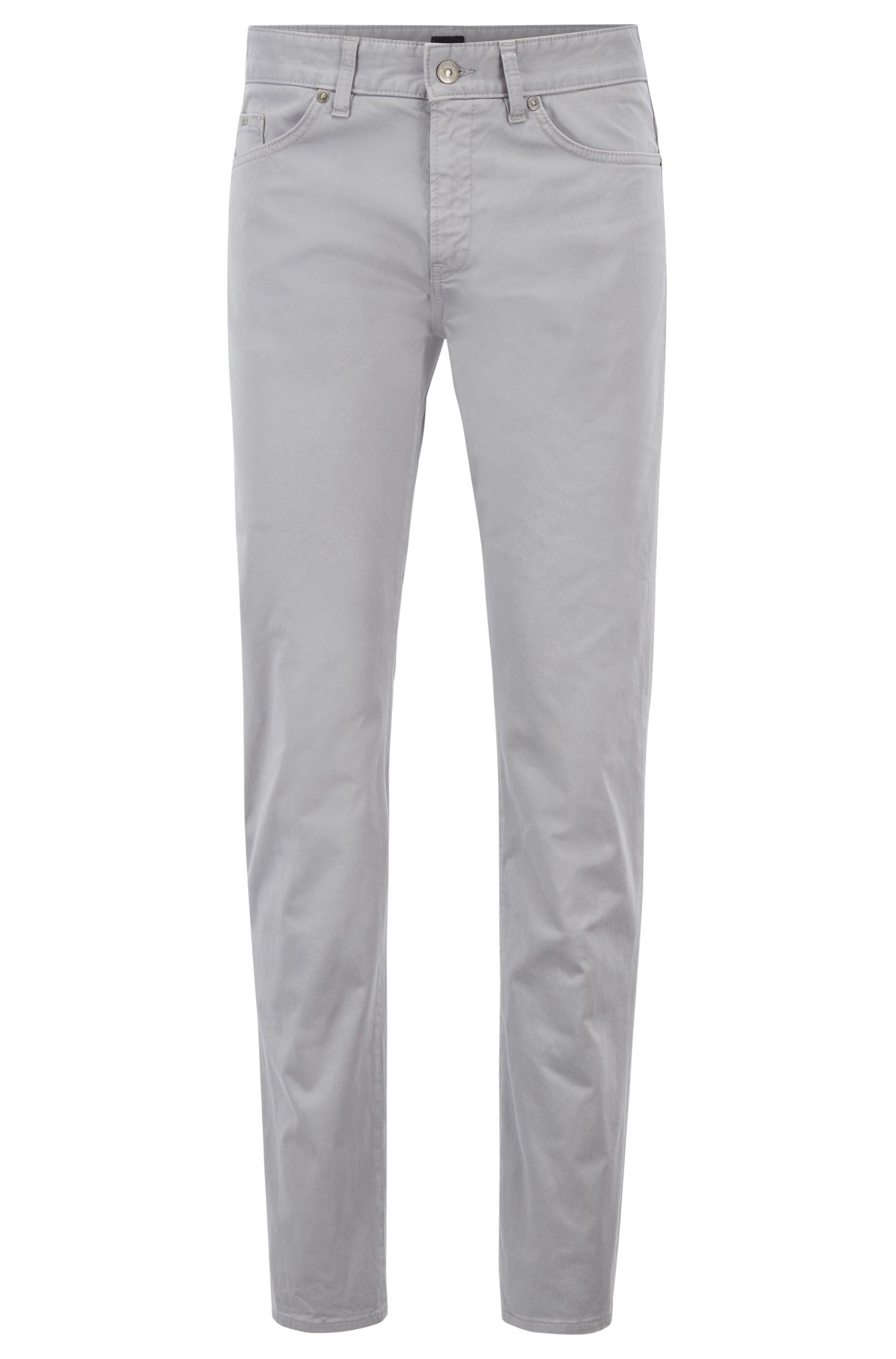 Slim-fit jeans in diamond-brushed satin denim, Silver