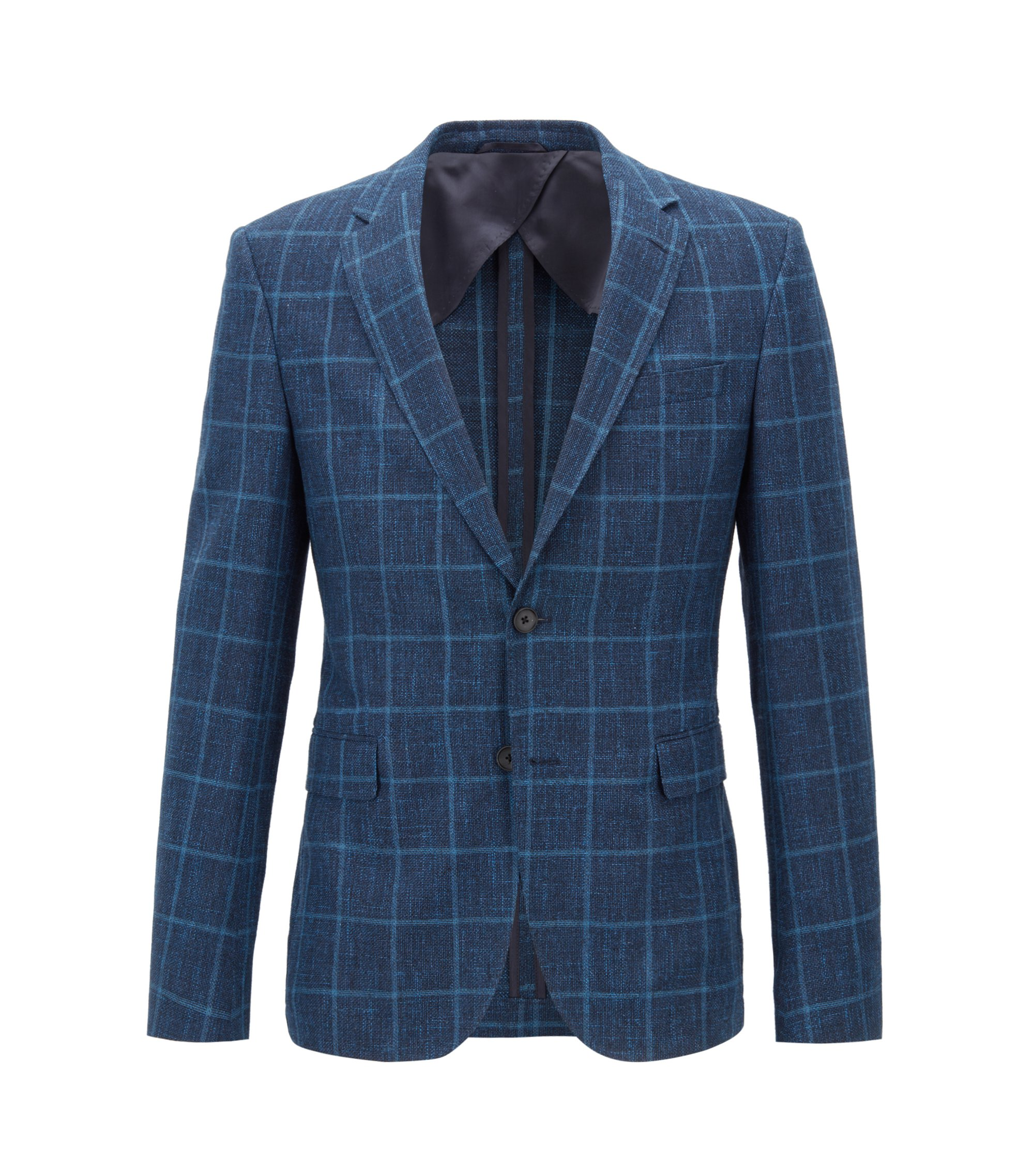 Blazer slim fit in misto lana vergine a quadri, Blu
