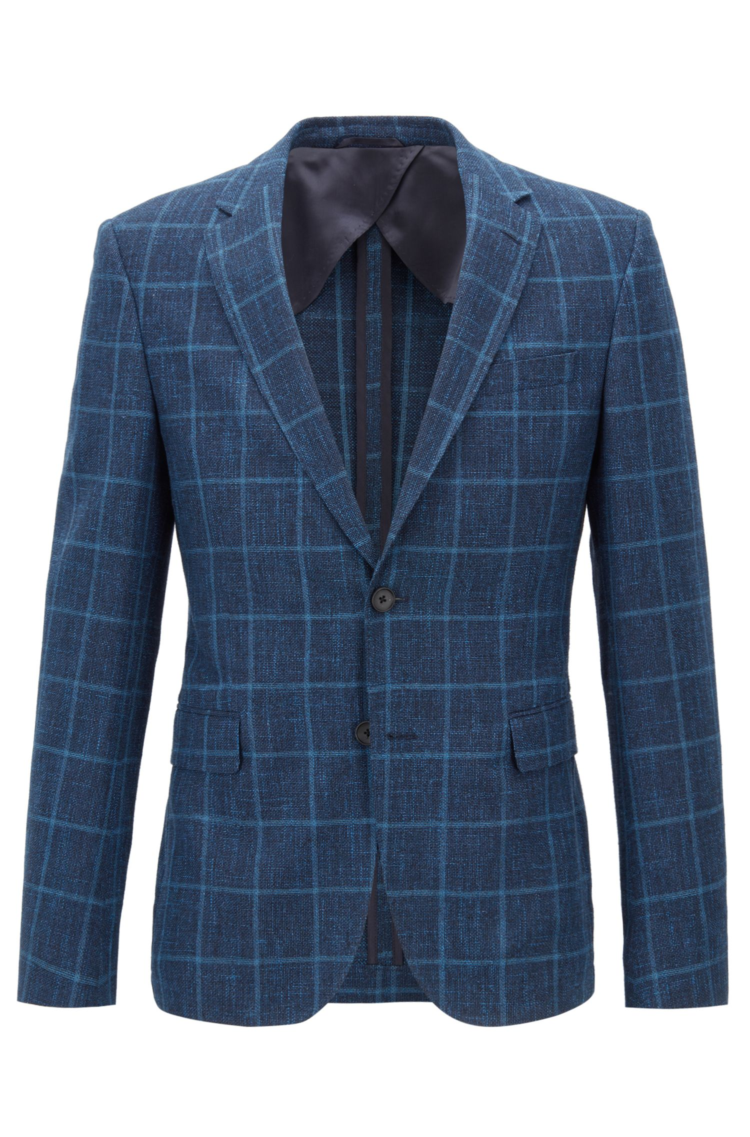 Blazer slim fit in misto lana vergine a quadri