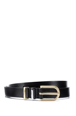 Italian-leather belt with twin metal keeper loops, Black