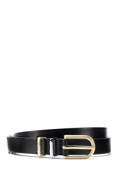 Italian-leather belt with twin metal keeper loops, Black