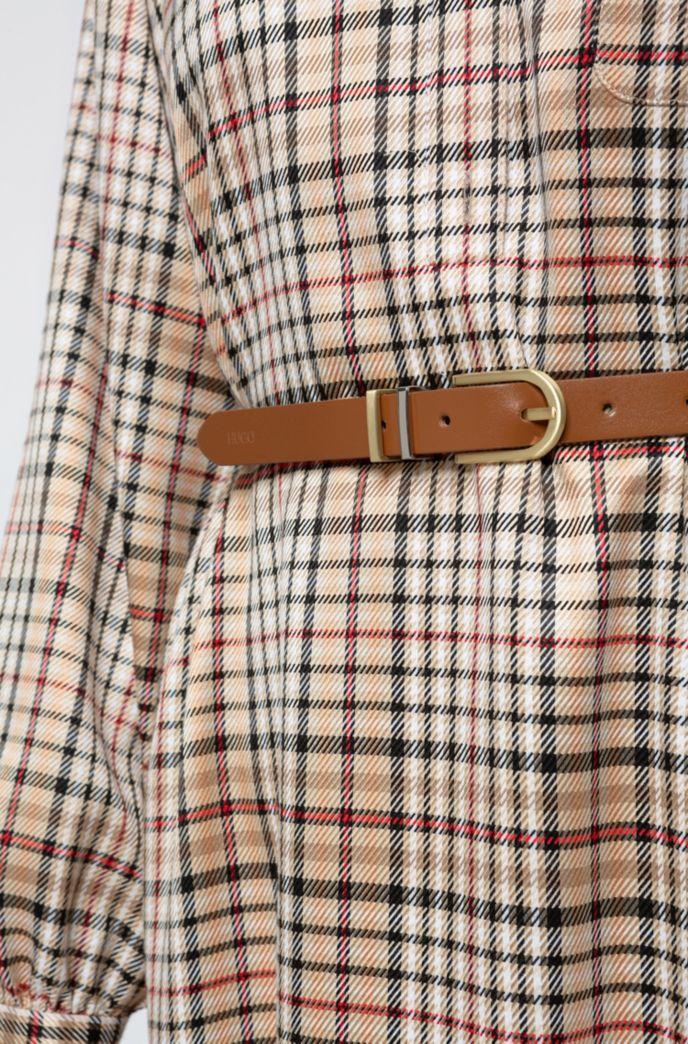 Gürtel aus italienischem Leder mit zwei metallenen Stegen
