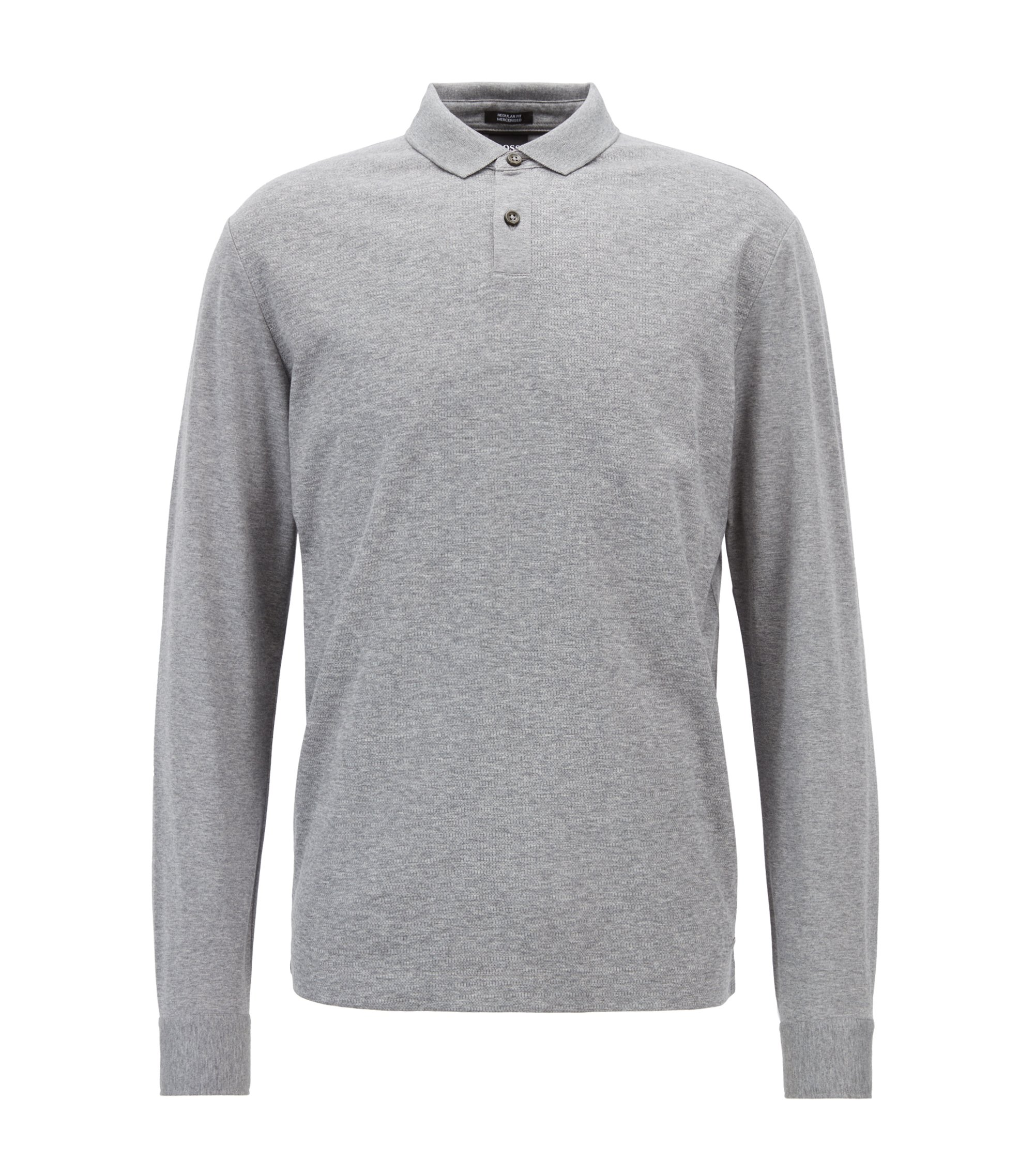 Polo Regular Fit en coton mercerisé à micro-carreaux, Argent
