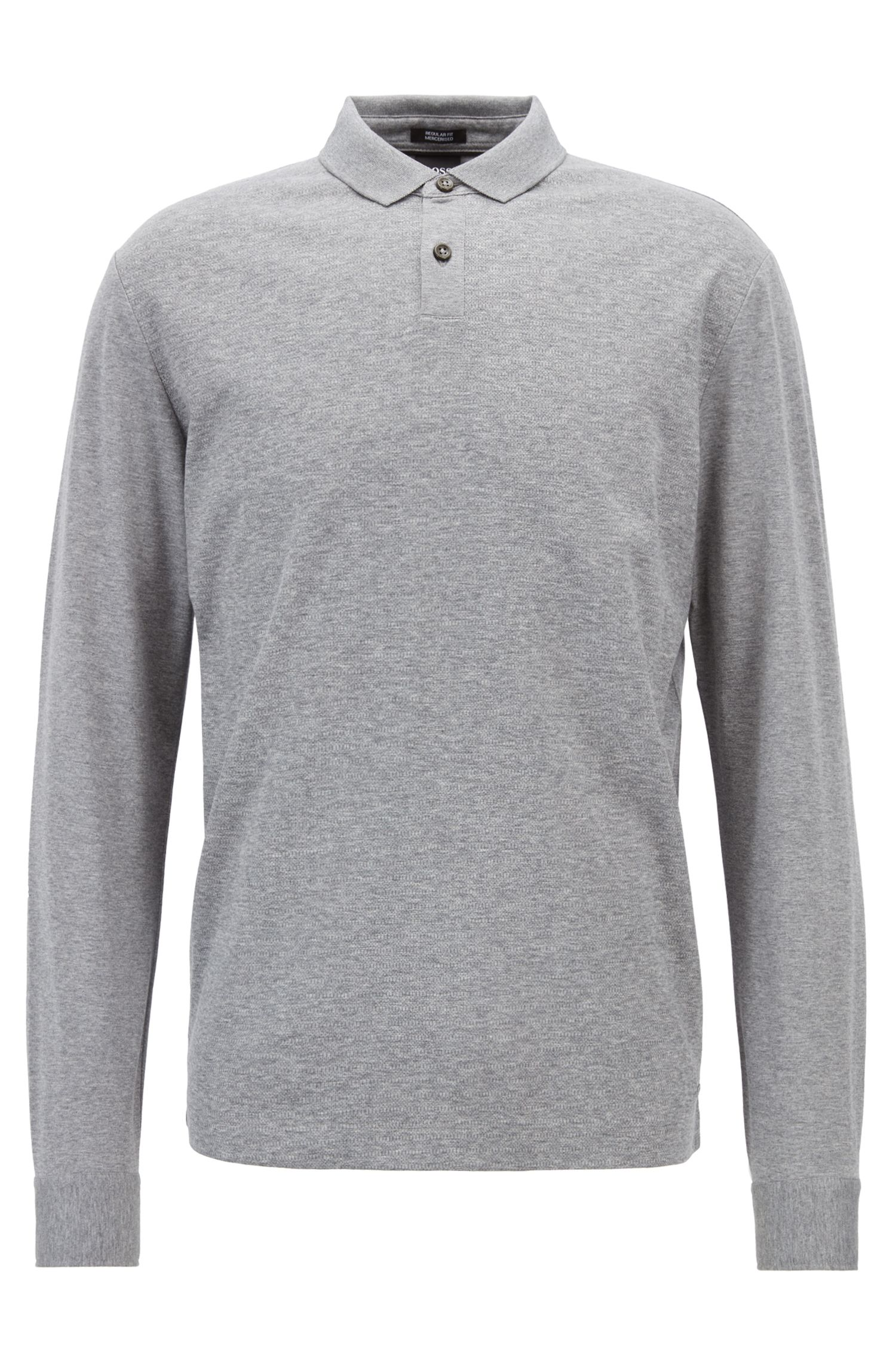 Regular-fit polo shirt in mercerised cotton with micro-check, Silver