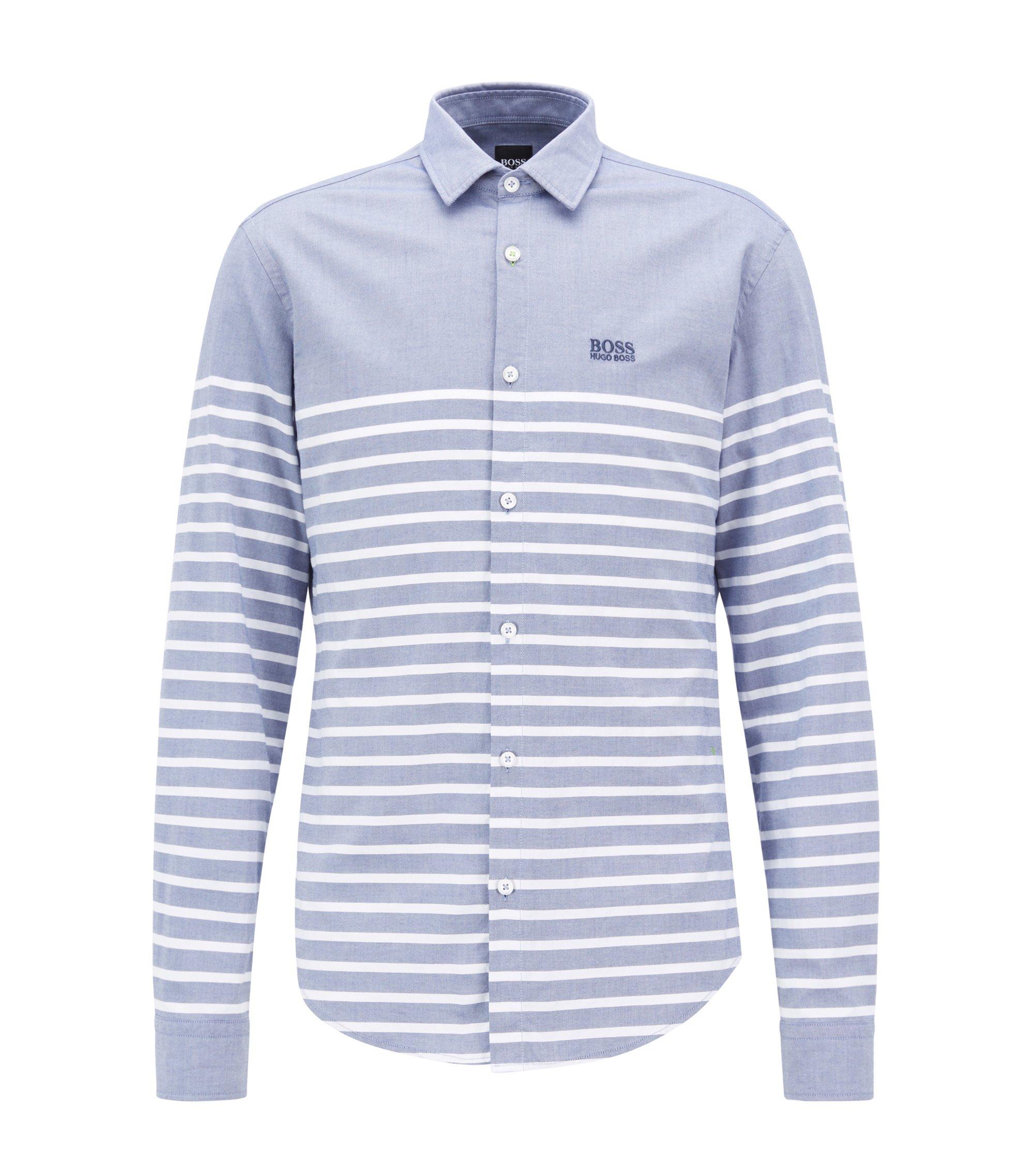 Camisa slim fit de algodón elástico con rayas definidas, Celeste