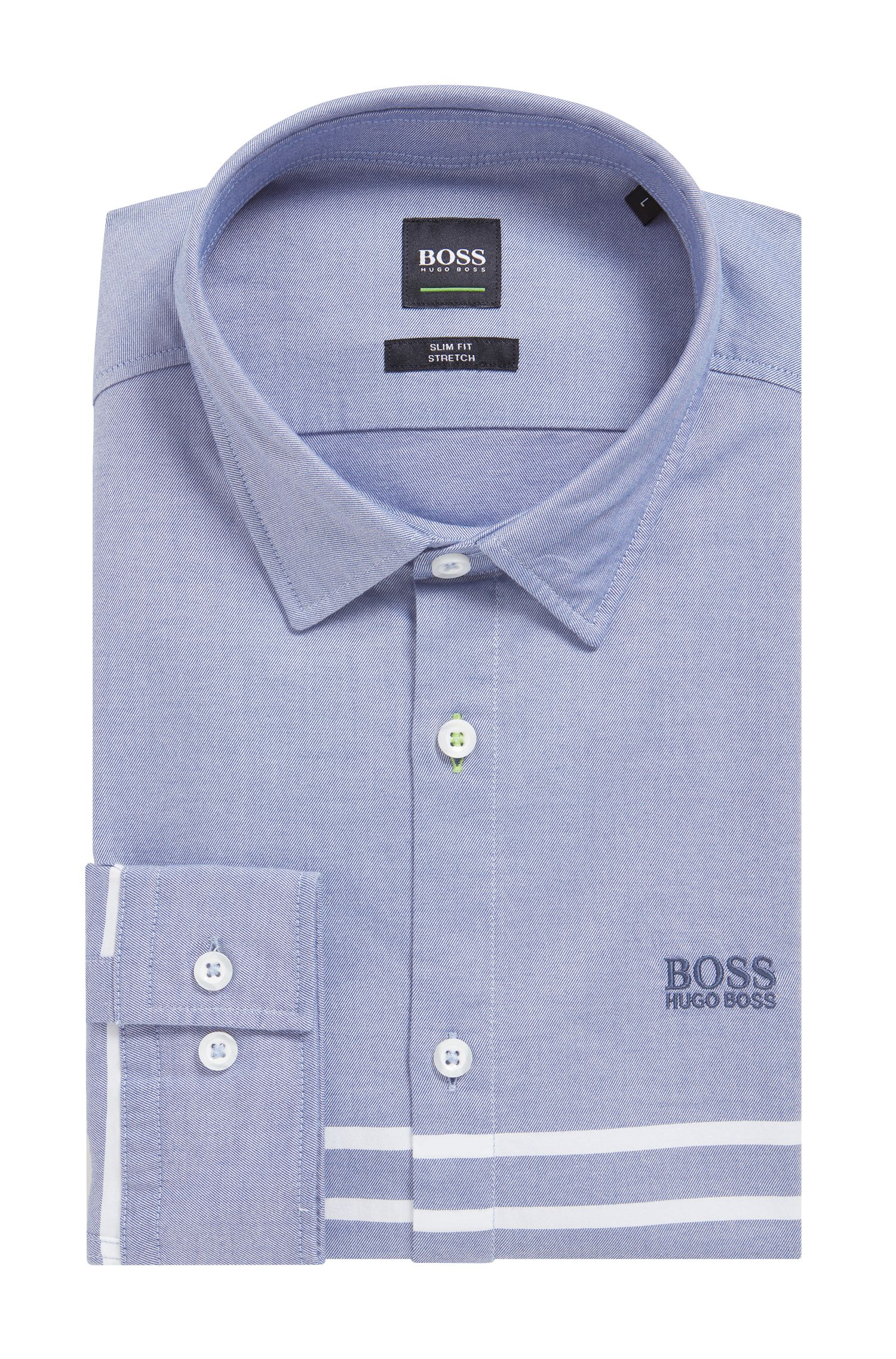 Slim-fit shirt in stretch cotton with placement stripes, Light Blue