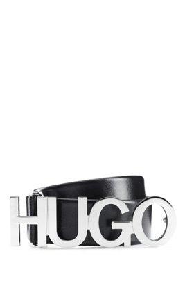 Gürtel aus italienischem Leder mit silberfarbener Logo-Schließe, Schwarz