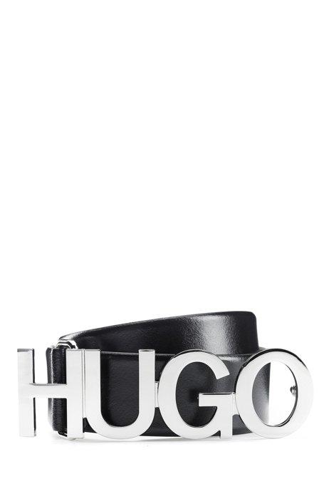 Logo belt in Italian leather with silver buckle, Black