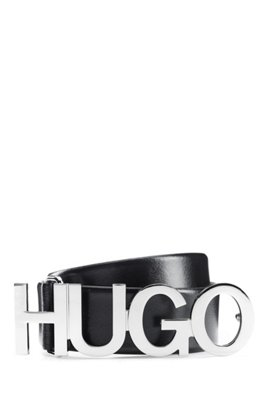 Logo belt in Italian leather with silver buckle, Black