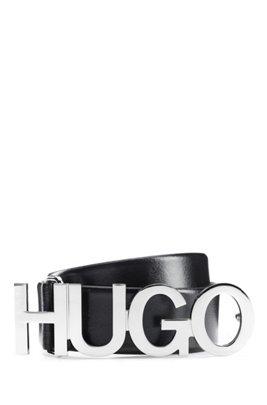 Cinturón con logo de piel italiana con hebilla plateada, Negro