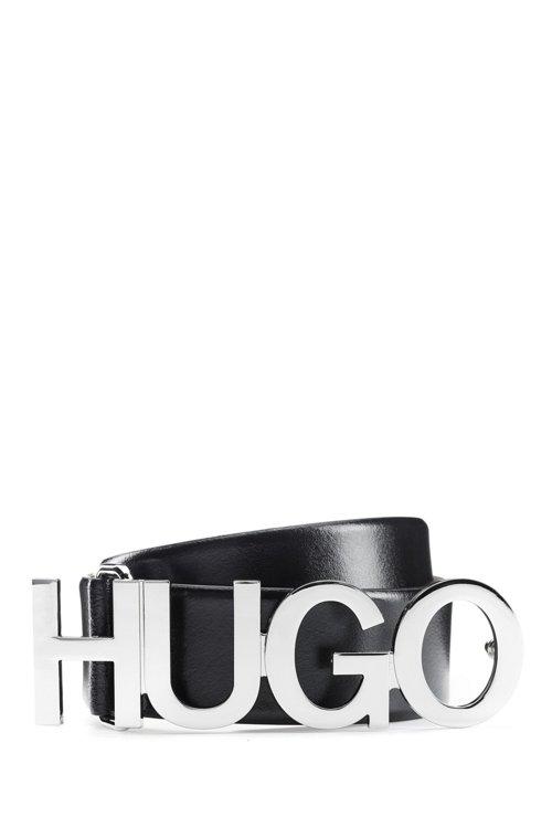 Hugo Boss - Cinturón con logo de piel italiana con hebilla plateada - 1