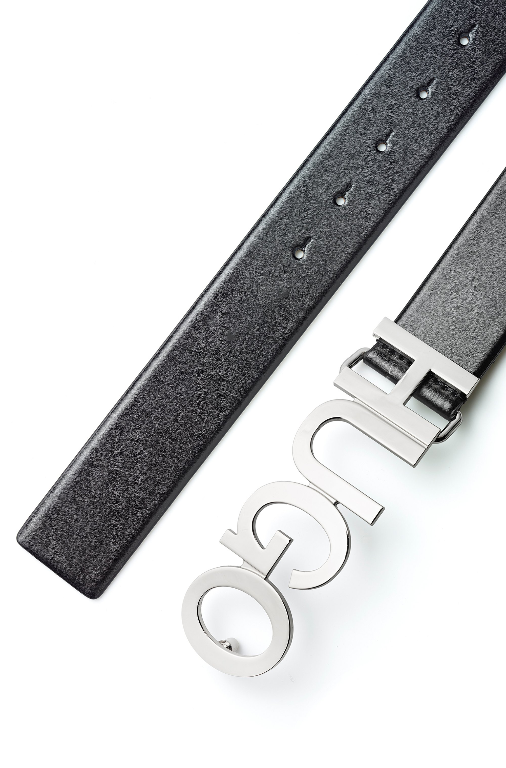 Logo belt in Italian leather with silver buckle