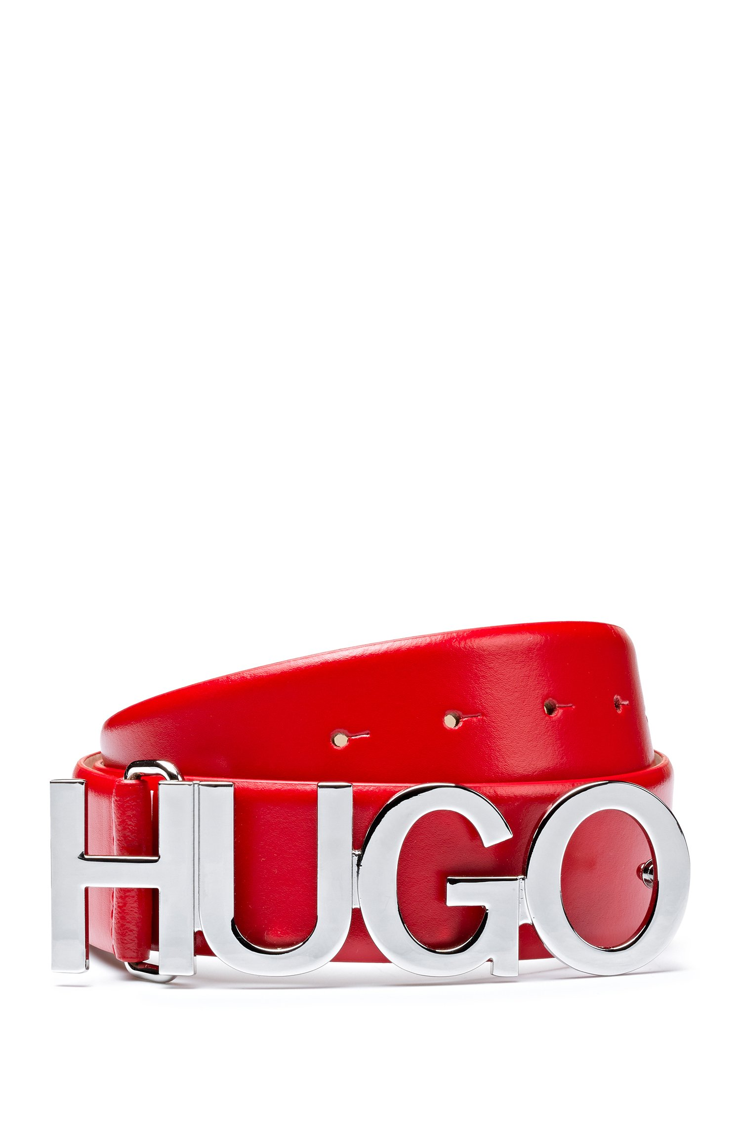 Logo belt in Italian leather with silver buckle, Red