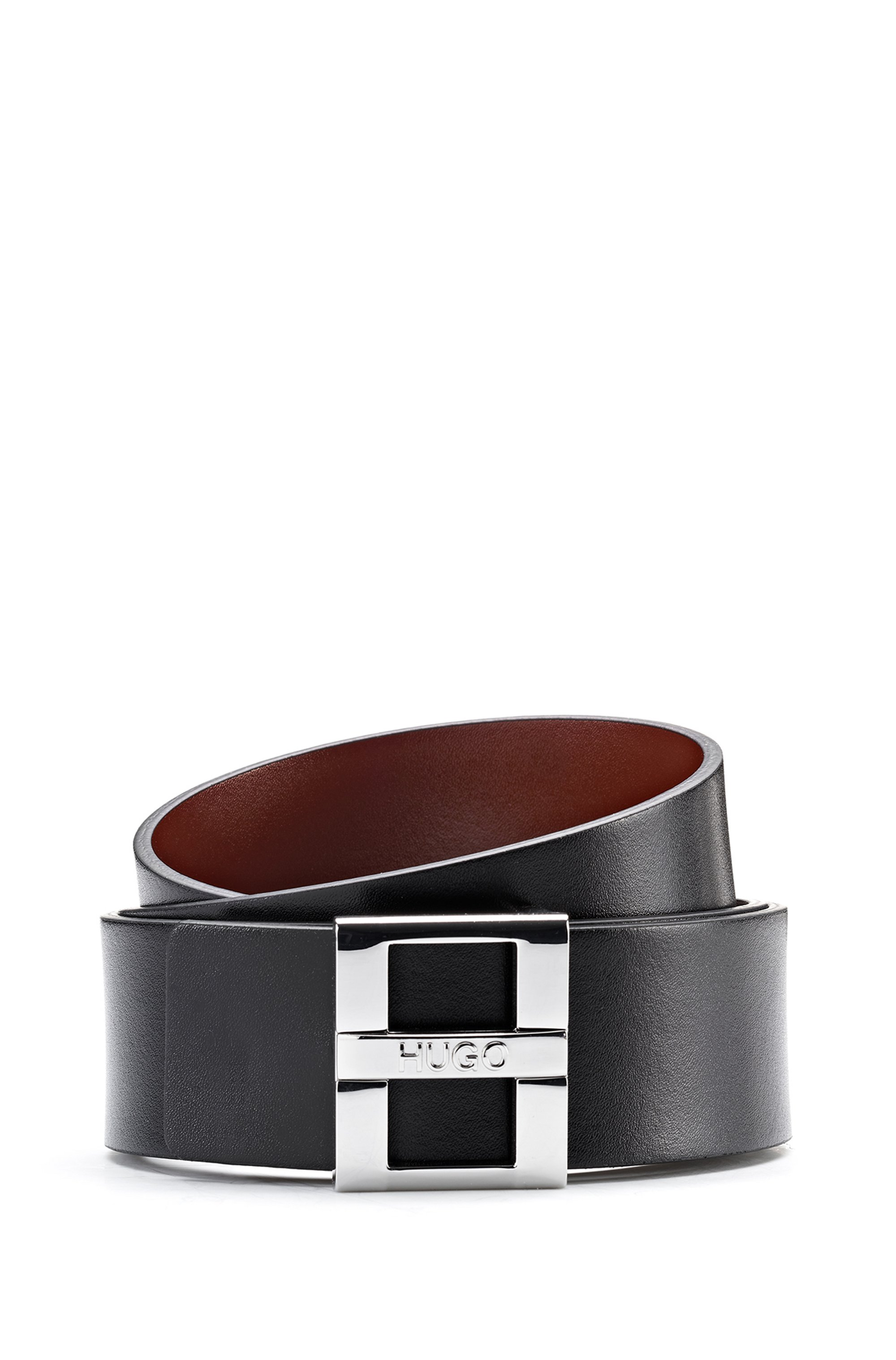 Smooth-leather belt with branded pin closure, Black