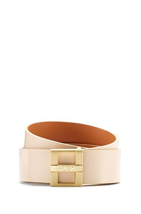 Cinturón de piel lisa reversible con detalle de la marca en la hebilla, Beige claro