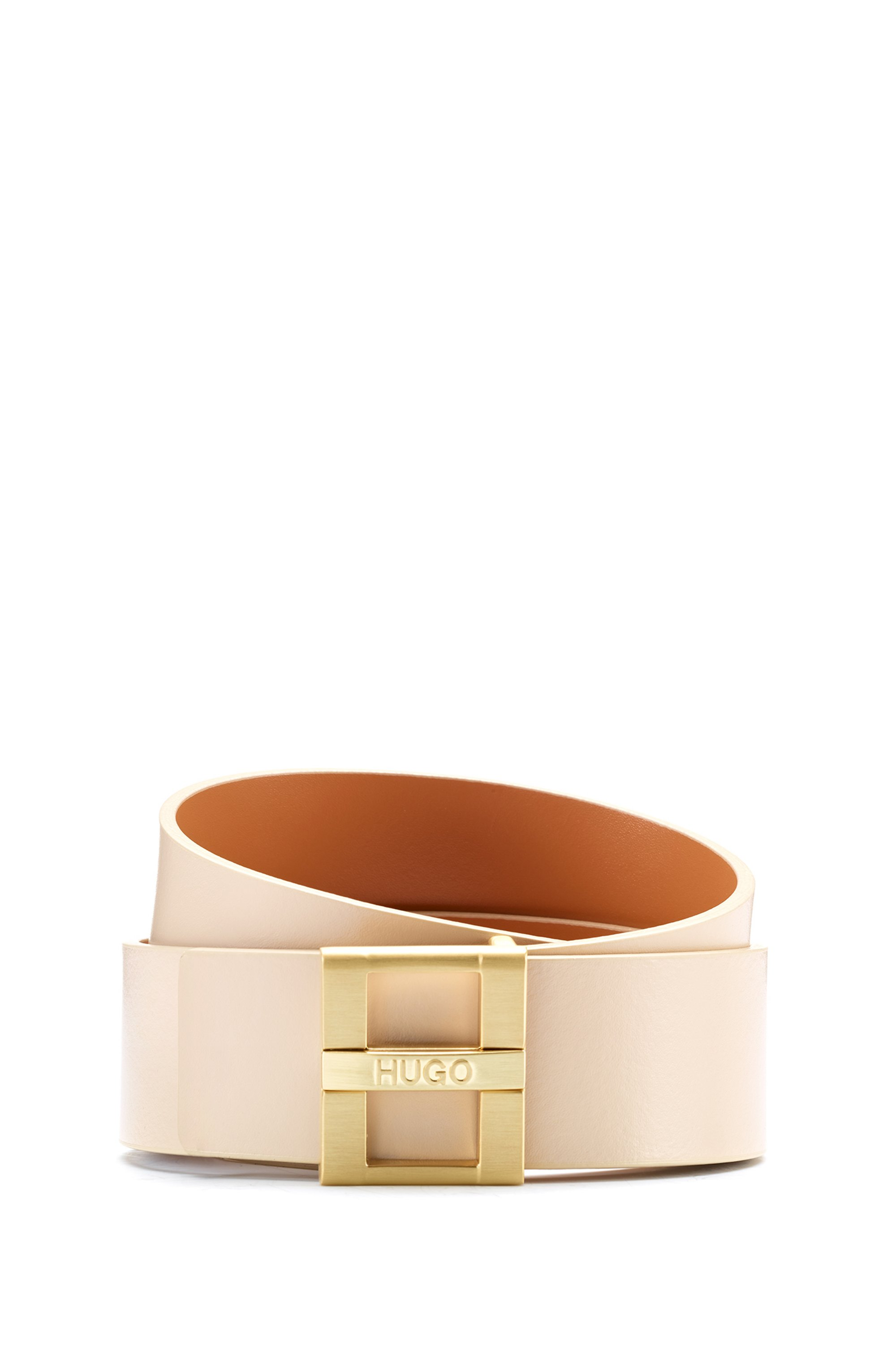 Smooth-leather belt with branded pin closure, Light Beige