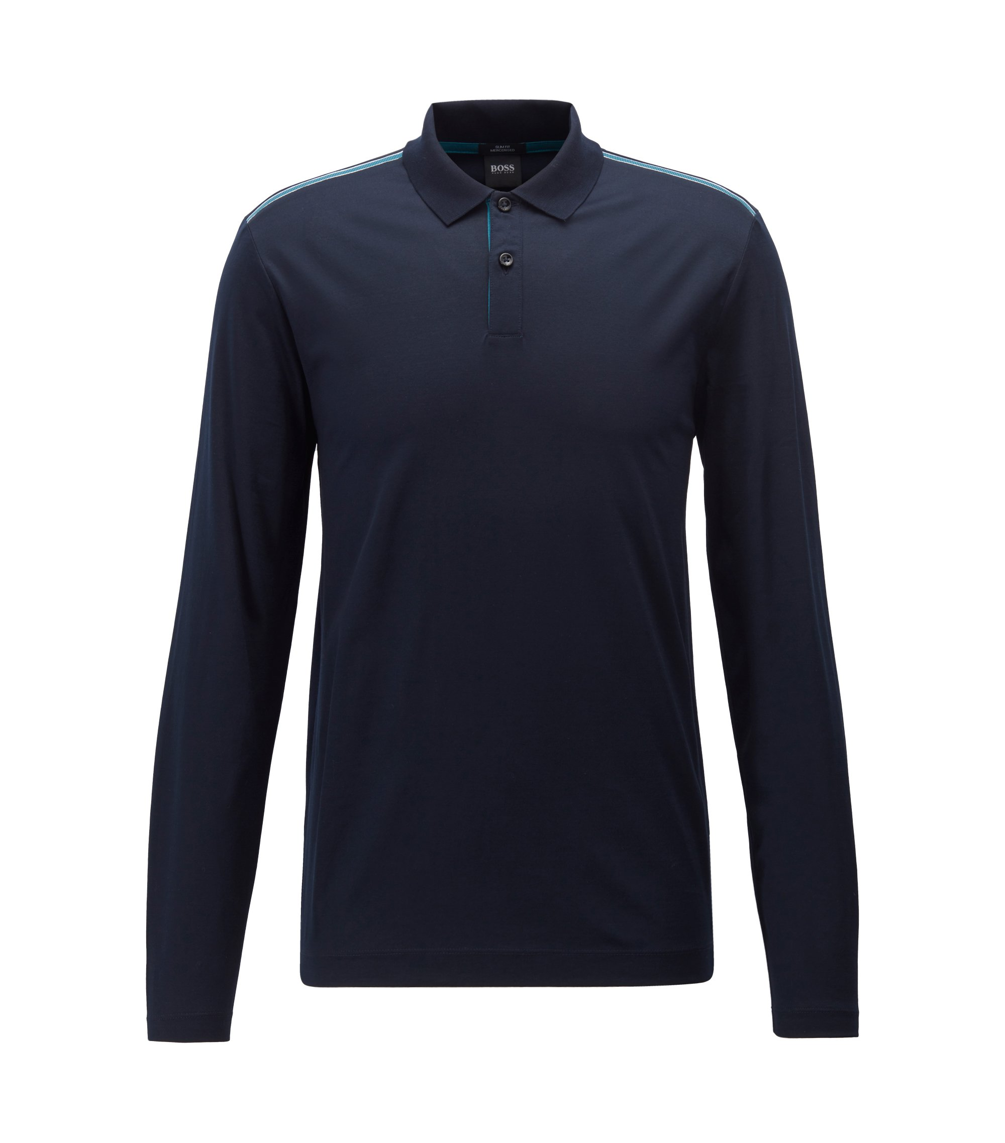 Slim-fit long-sleeved polo shirt in mercerised cotton, Dark Blue