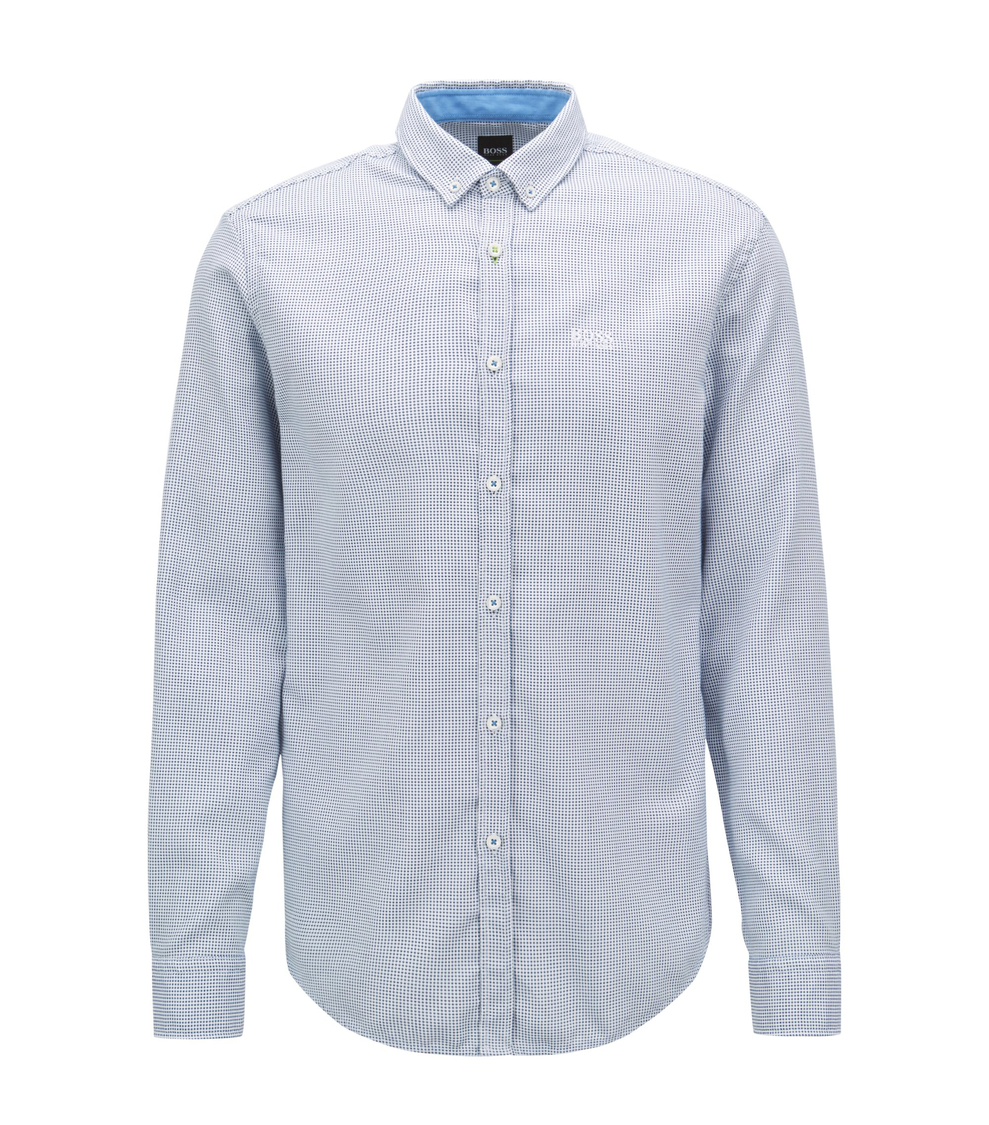 Regular-Fit Hemd aus Baumwolle mit Button-Down-Kragen, Blau