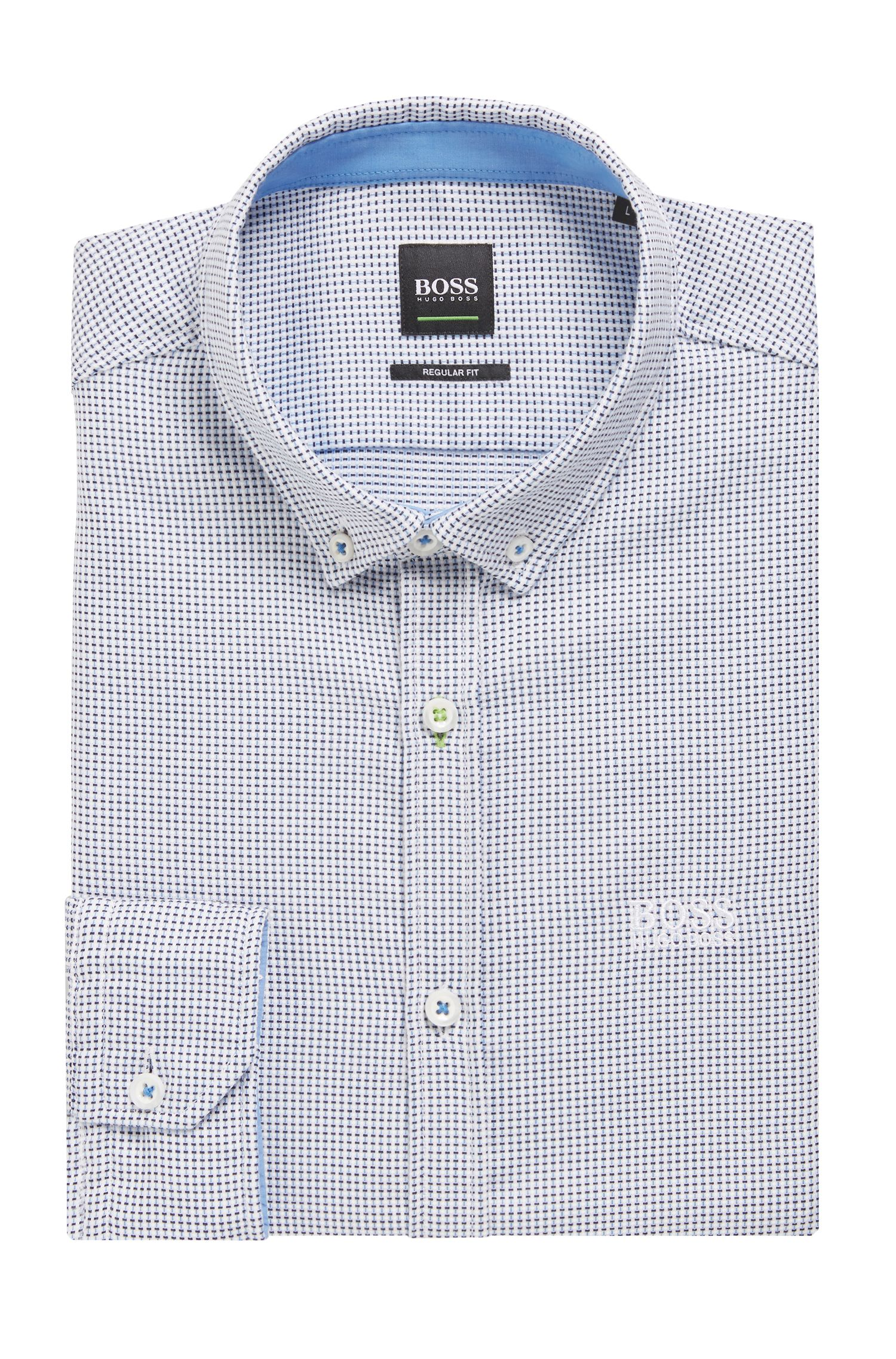 Camicia regular fit in cotone con colletto button-down, Blu