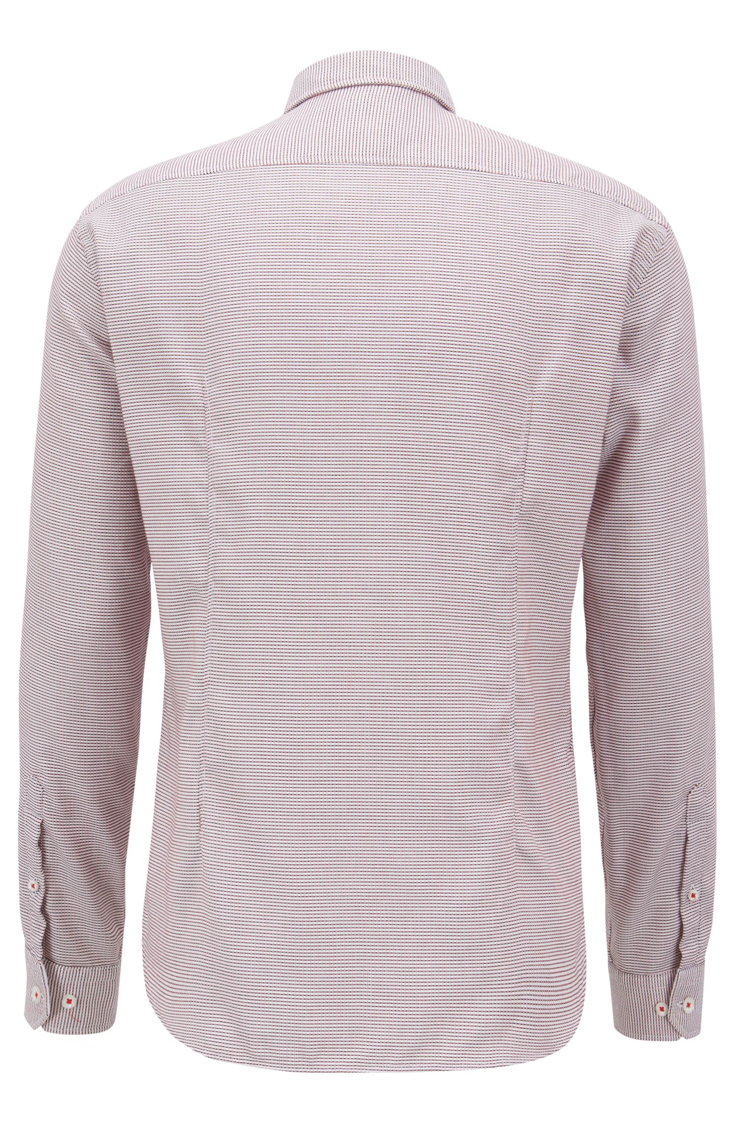 Camicia regular fit in cotone con colletto button-down, Rosso chiaro