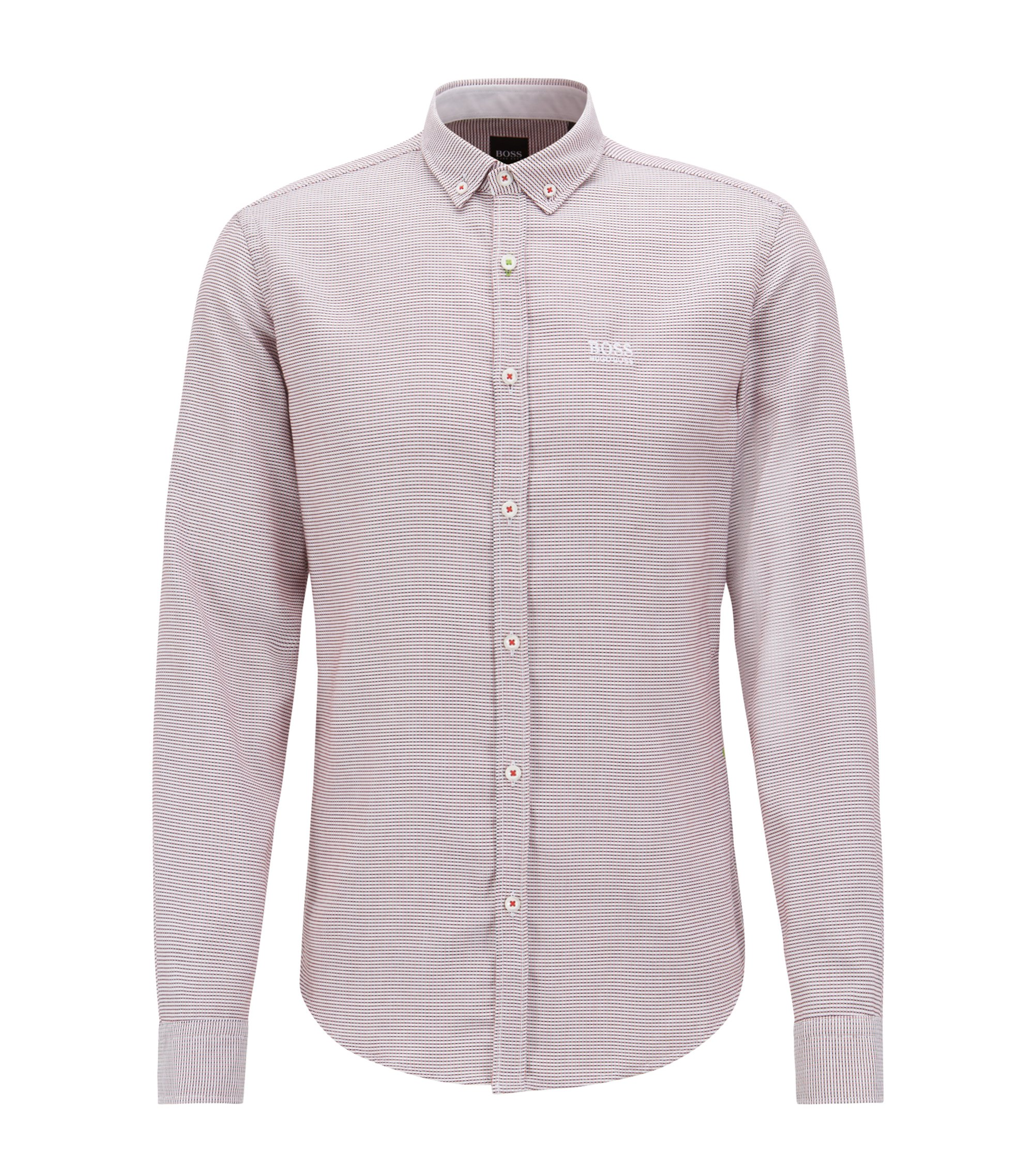 Camisa regular fit en algodón con cuello abotonado, Rojo claro