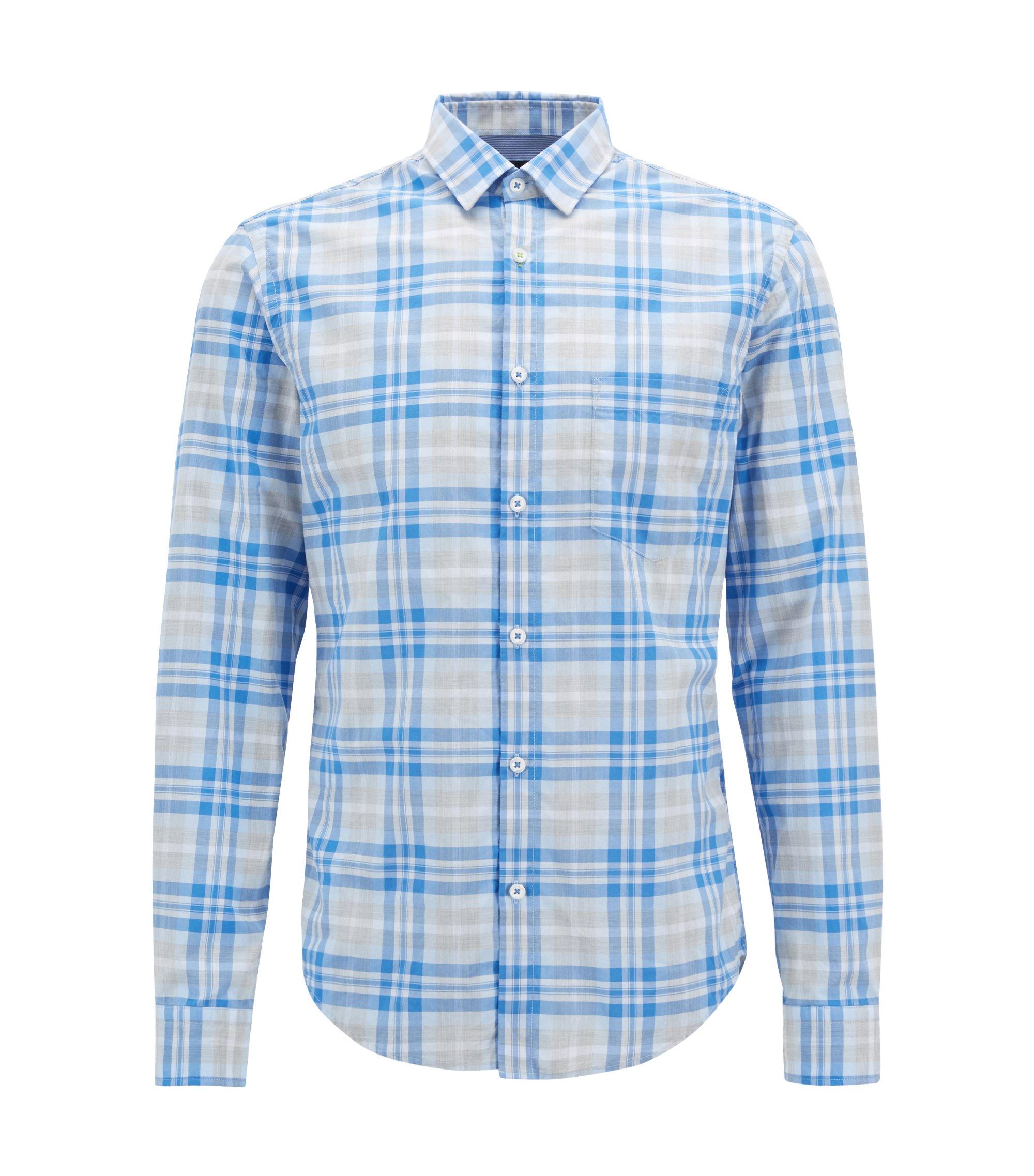 Camicia a quadri in popeline di cotone mélange con sistema di gestione dell'umidità, Blu