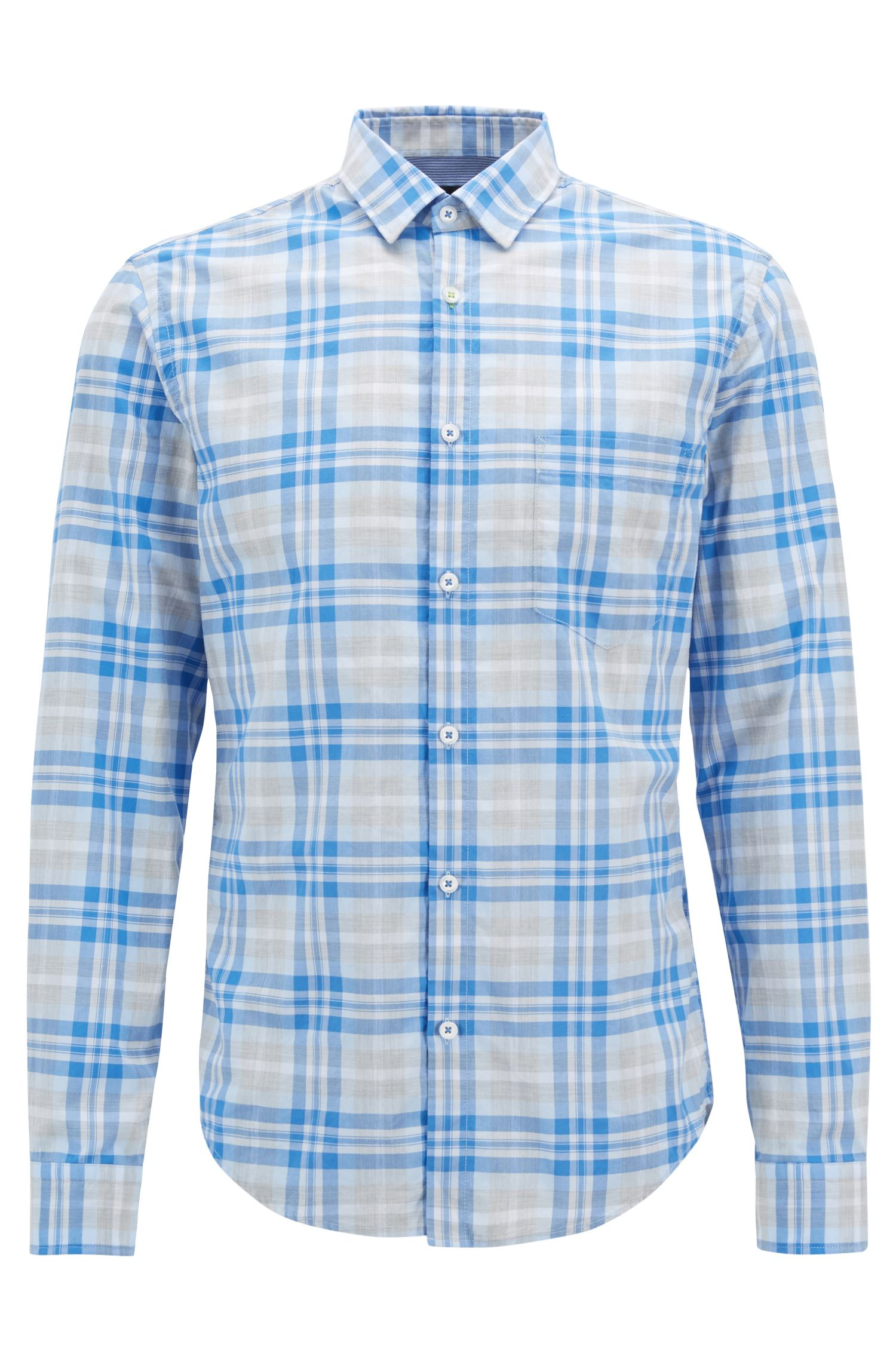 Checked shirt in heathered cotton poplin with moisture management, Blue