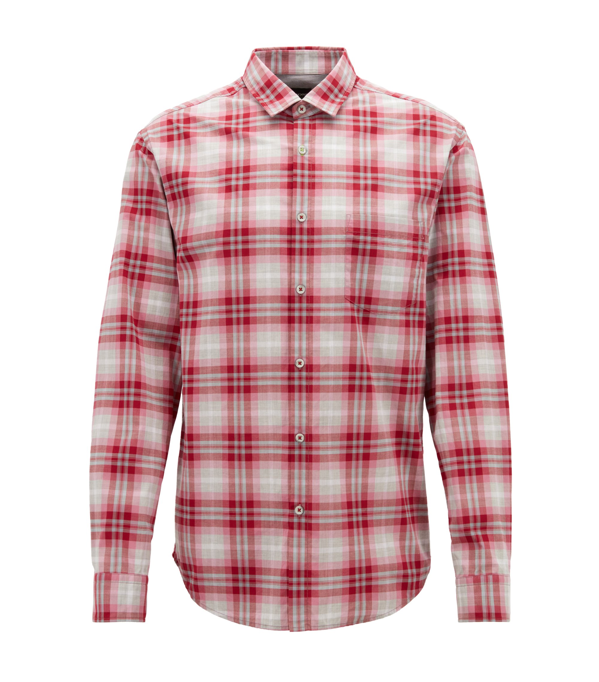 Checked shirt in heathered cotton poplin with moisture management, Red