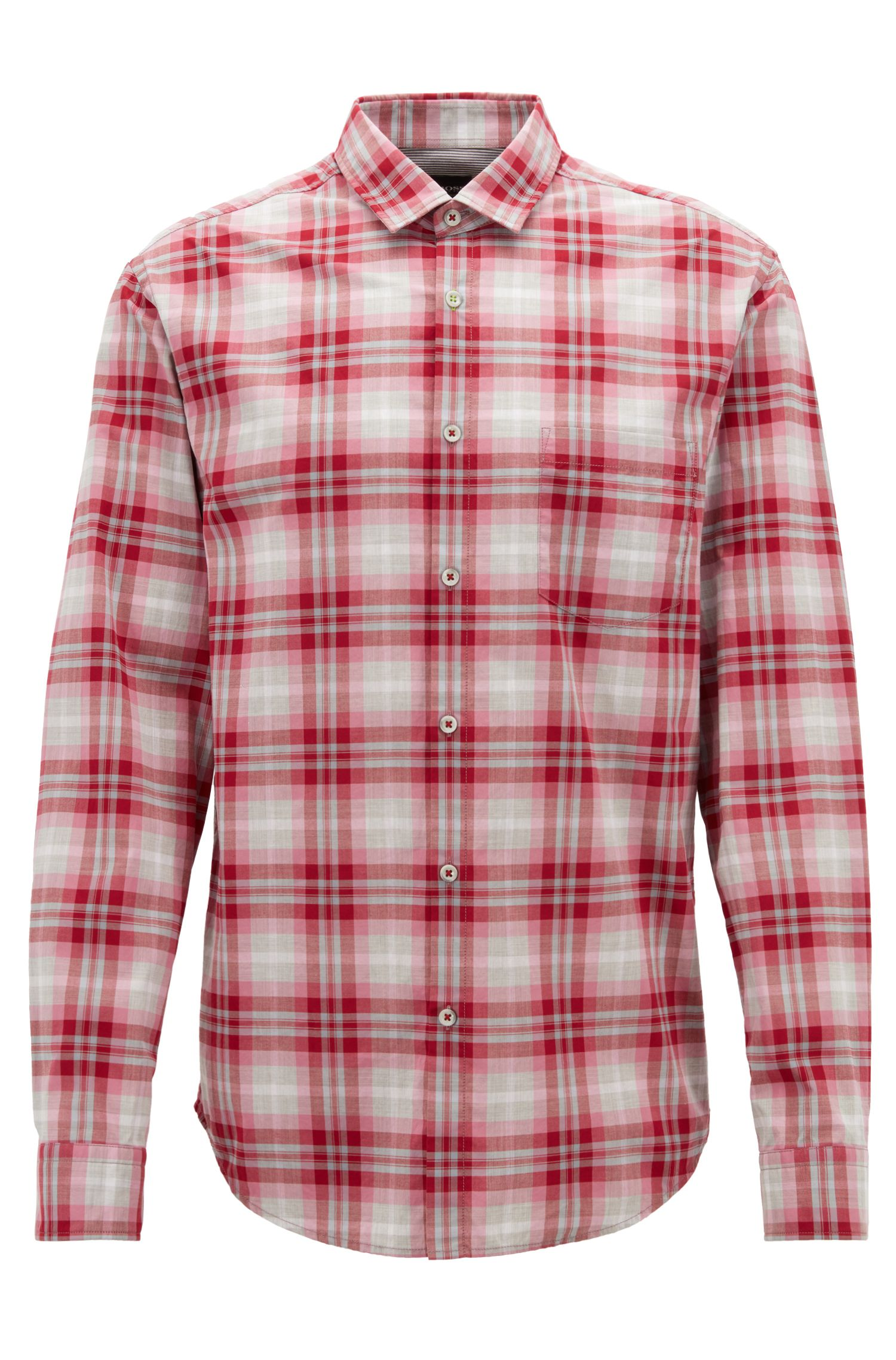 Checked shirt in heathered cotton poplin with moisture management