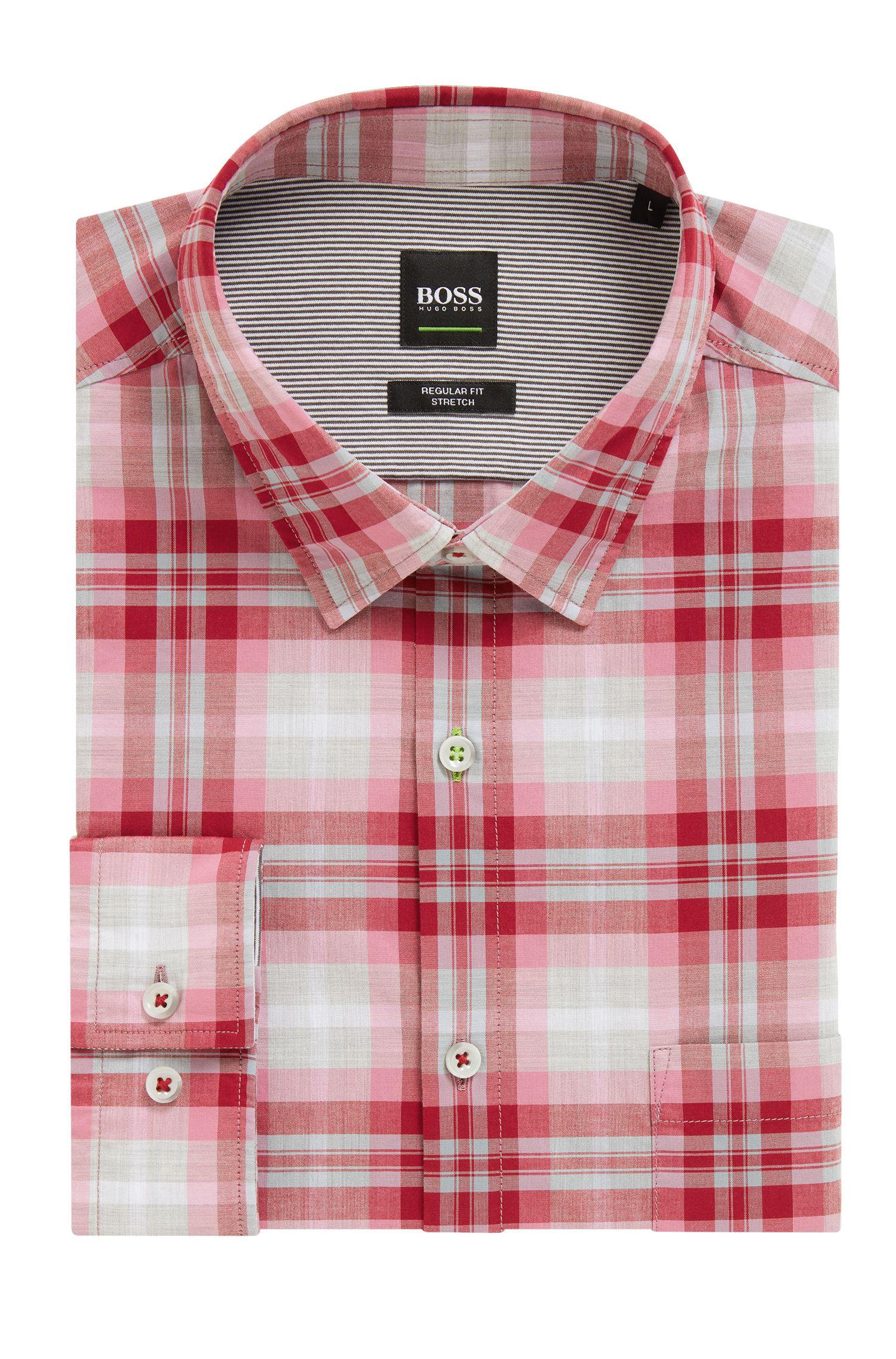 Meliertes Regular-Fit Karo-Hemd aus feuchtigkeitsableitender Baumwoll-Popeline, Rot