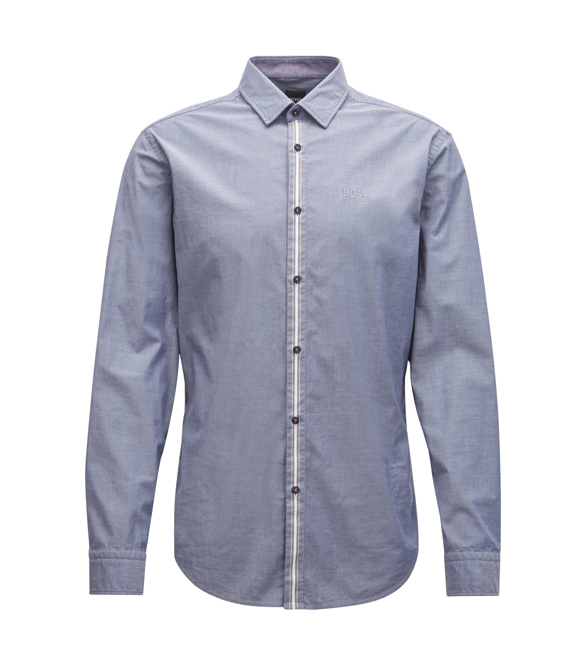 Camisa regular fit en algodón elástico transpirable con raya delantera, Azul oscuro