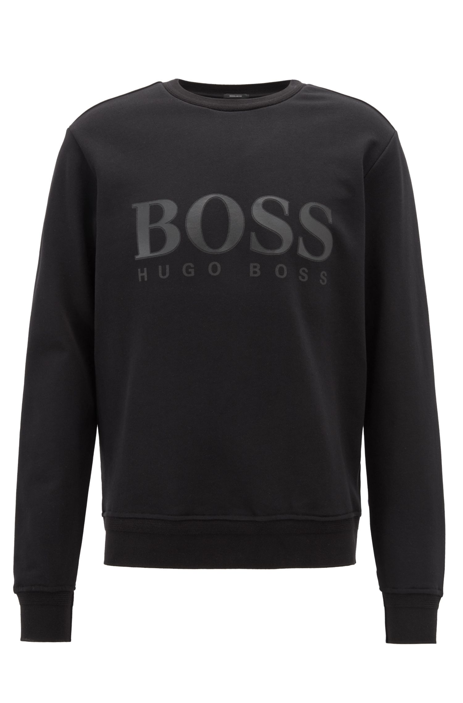 Crew-neck sweatshirt in French terry with 3D logo, Black