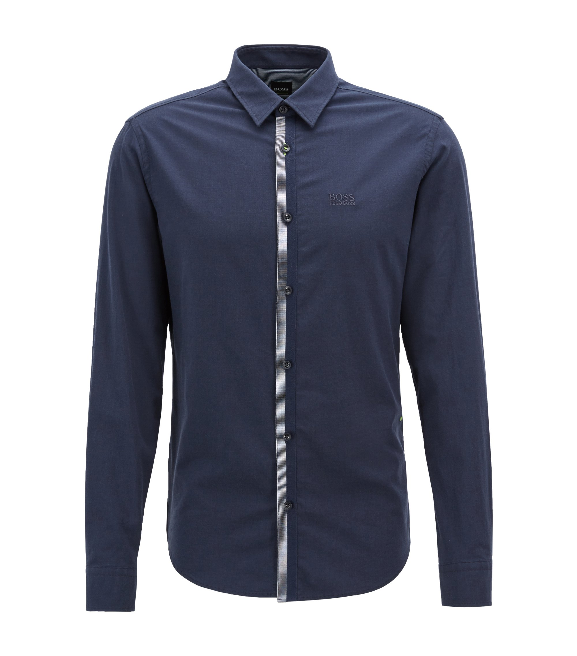 Camicia regular fit in twill di cotone mélange elasticizzato, Blu scuro