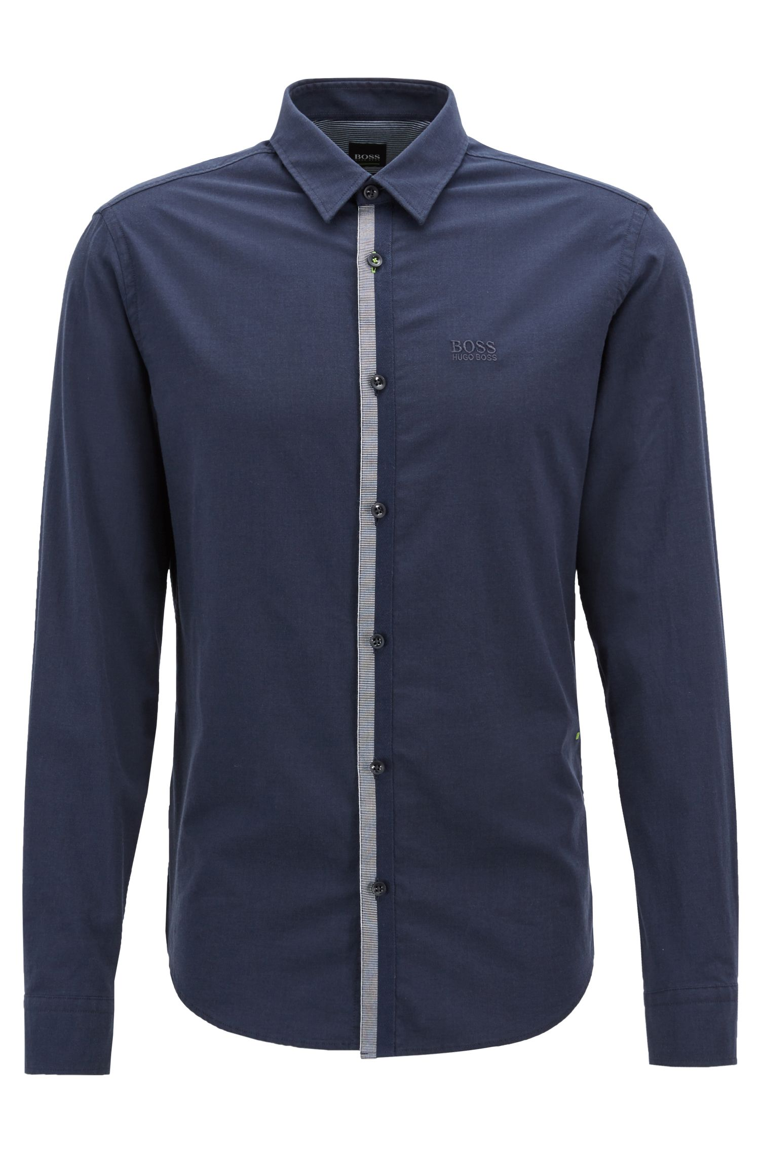 Regular-fit shirt in melange stretch-cotton twill