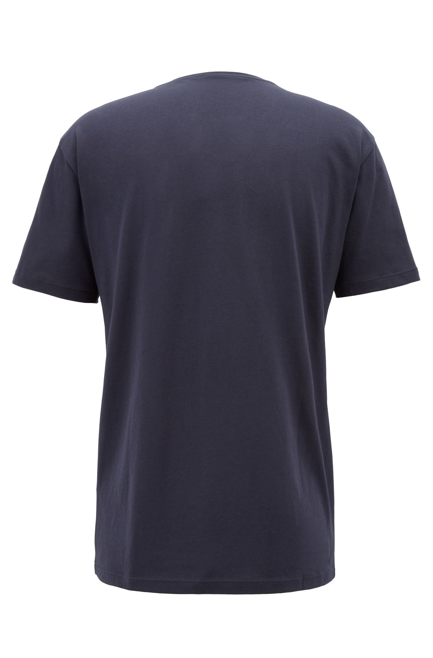 Relaxed-fit T-shirt in cotton with knitted tape detail, Blue