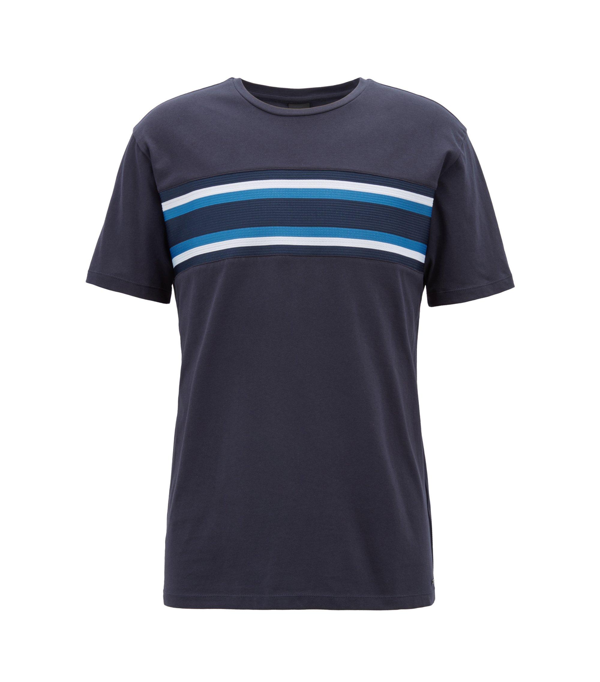 T-shirt Relaxed Fit en coton orné d'une bande en maille, Bleu