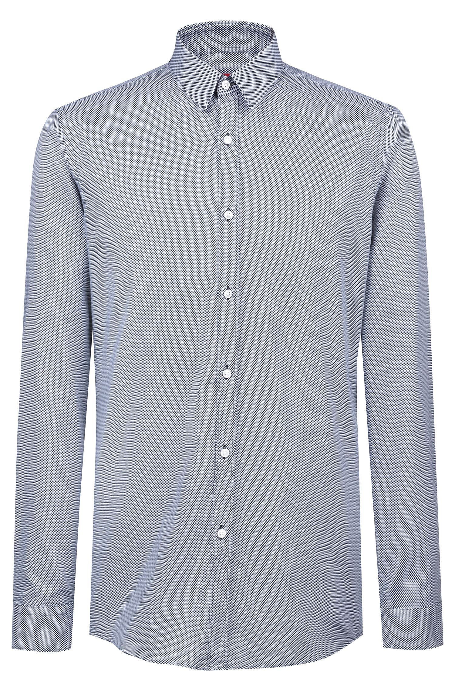 Slim-fit shirt in cotton with all-over micro print, Dark Blue