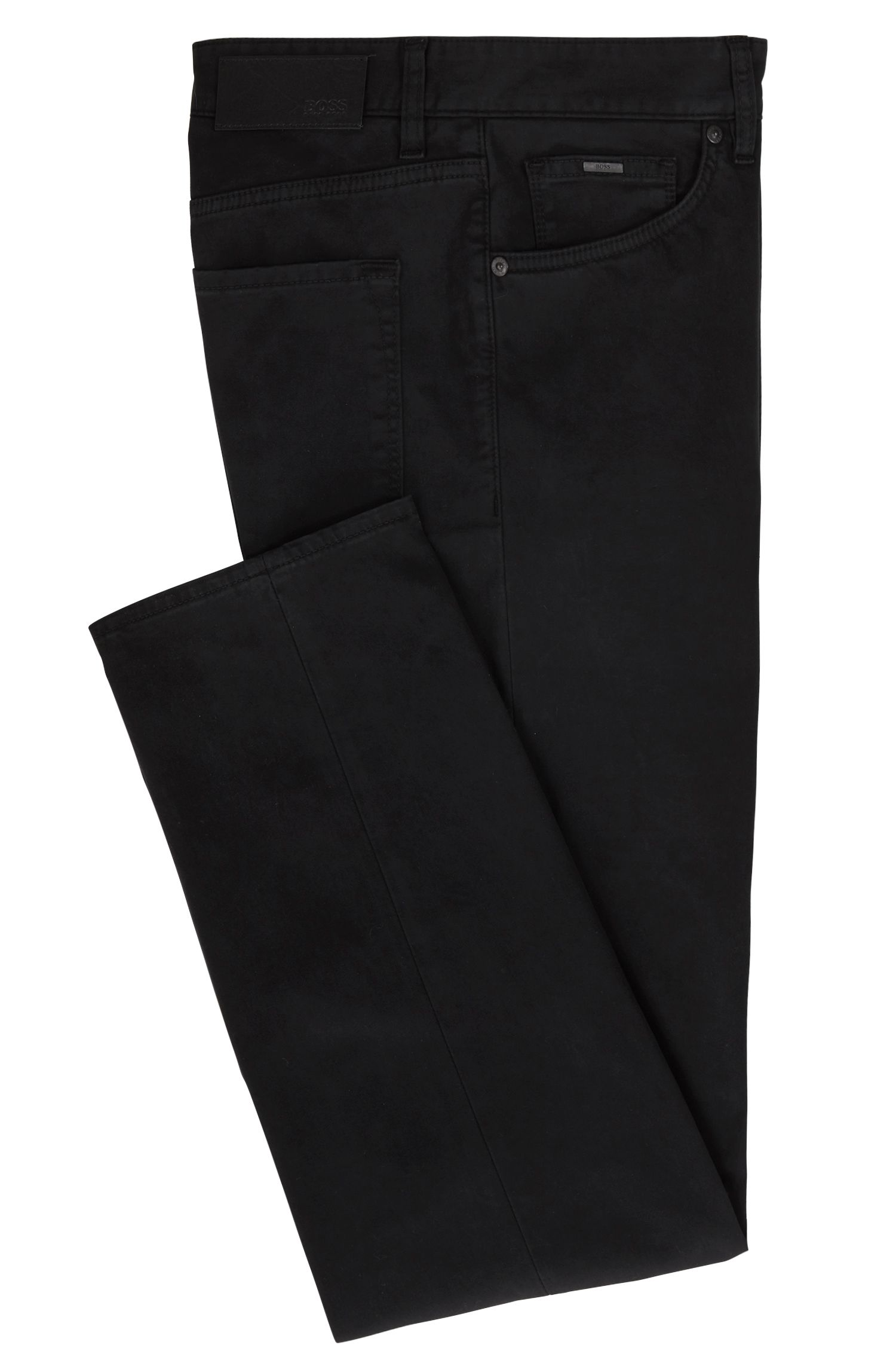 Regular-Fit Jeans aus gebürstetem Stretch-Denim, Schwarz