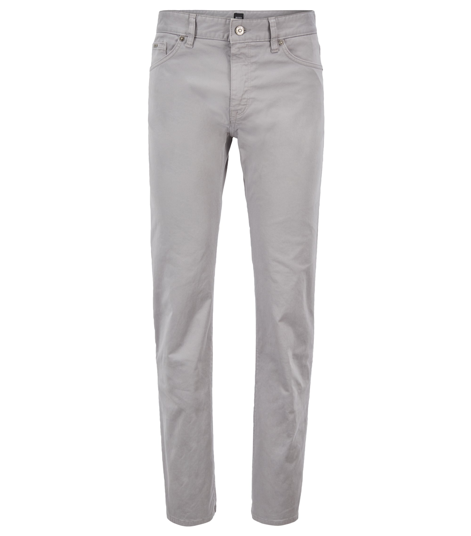Regular-fit jeans in diamond-brushed stretch denim, Silver