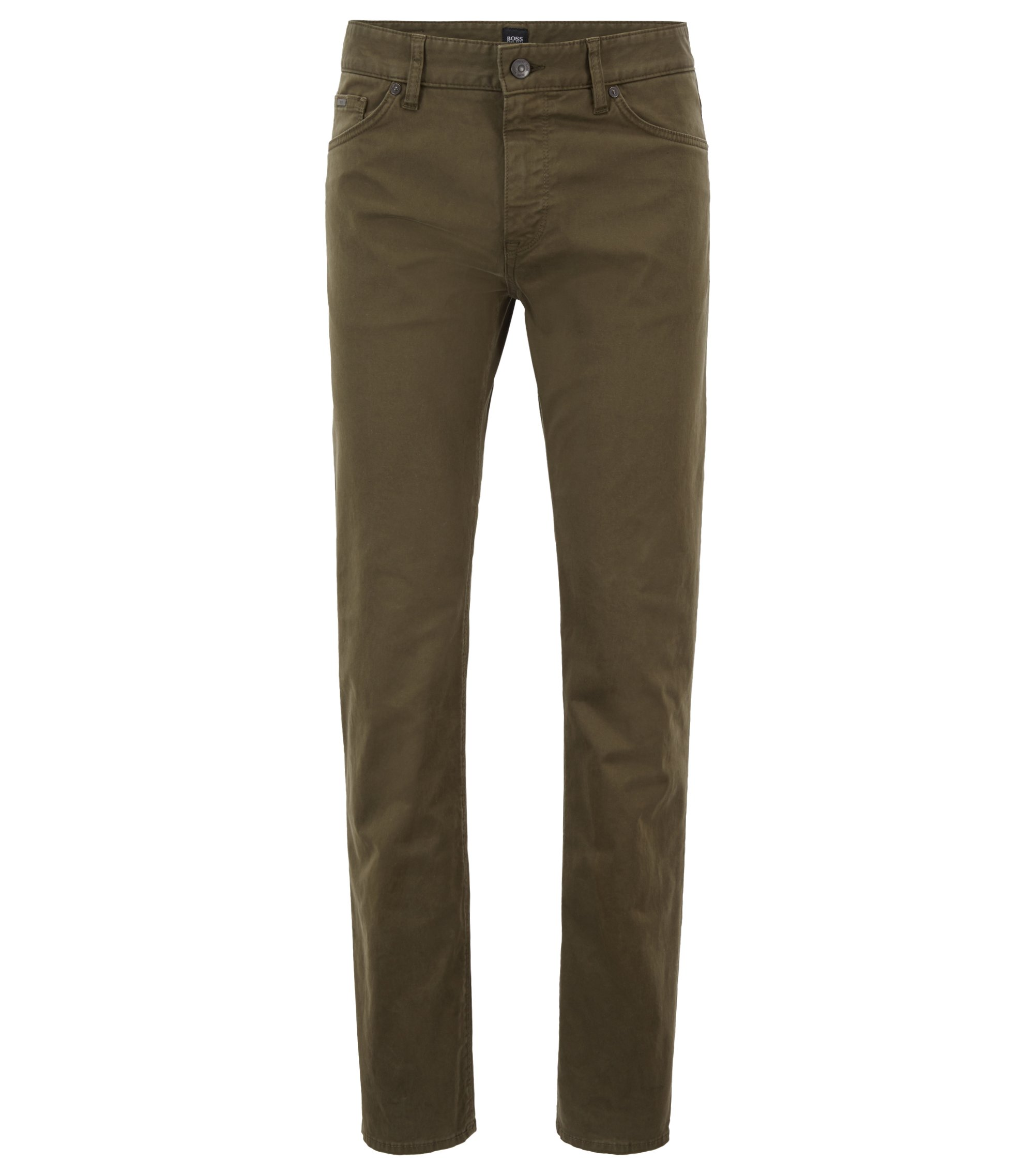 Regular-fit jeans in diamond-brushed stretch denim, Dark Green
