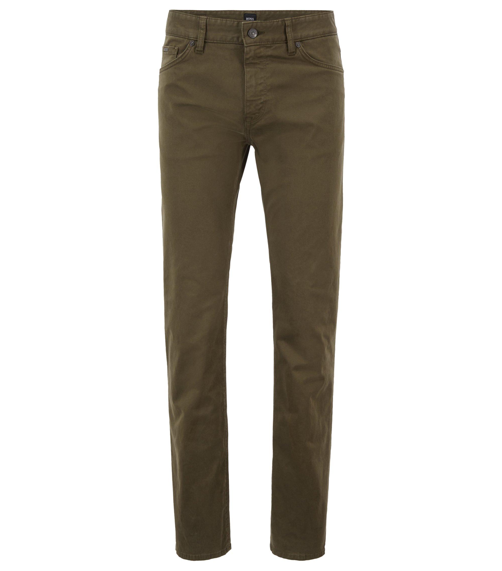 Regular-fit jeans van stretchdenim, afgewerkt met diamantborstel, Donkergroen