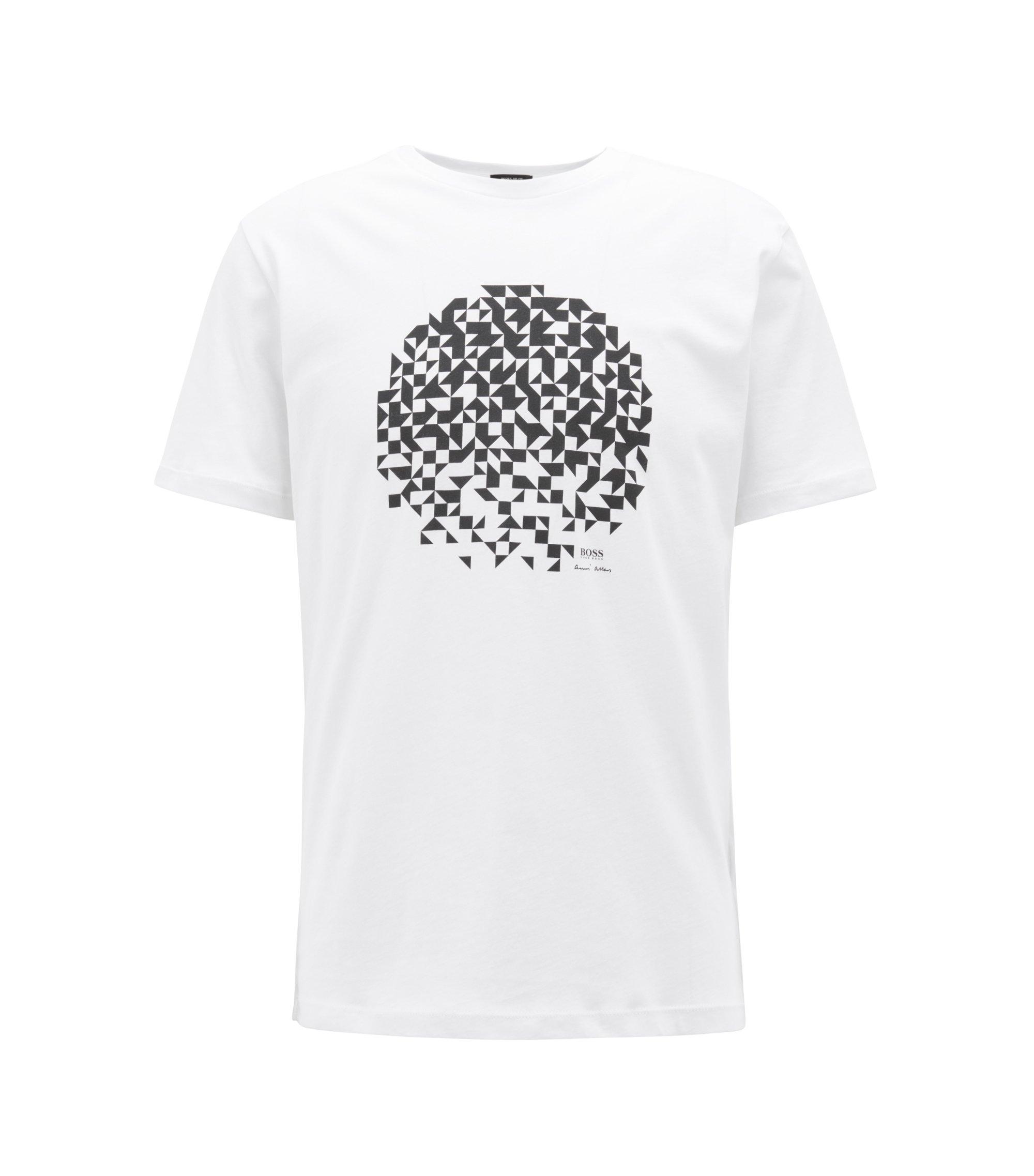 T-Shirt aus Jersey mit Artwork im Stil von Anni Albers, Weiß